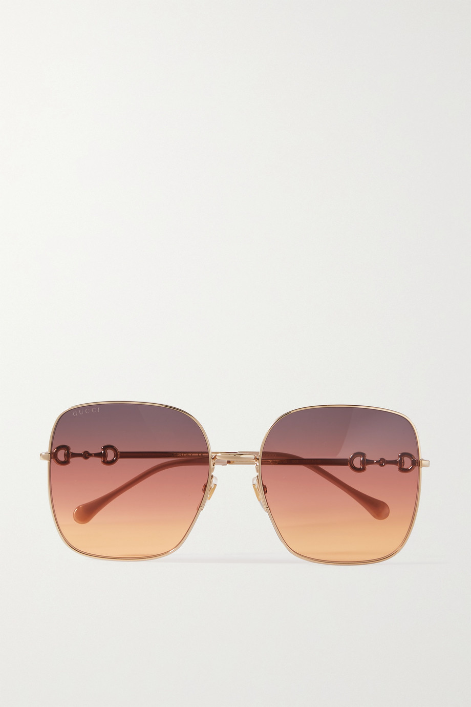 GUCCI Square-frame gold-tone sunglasses
