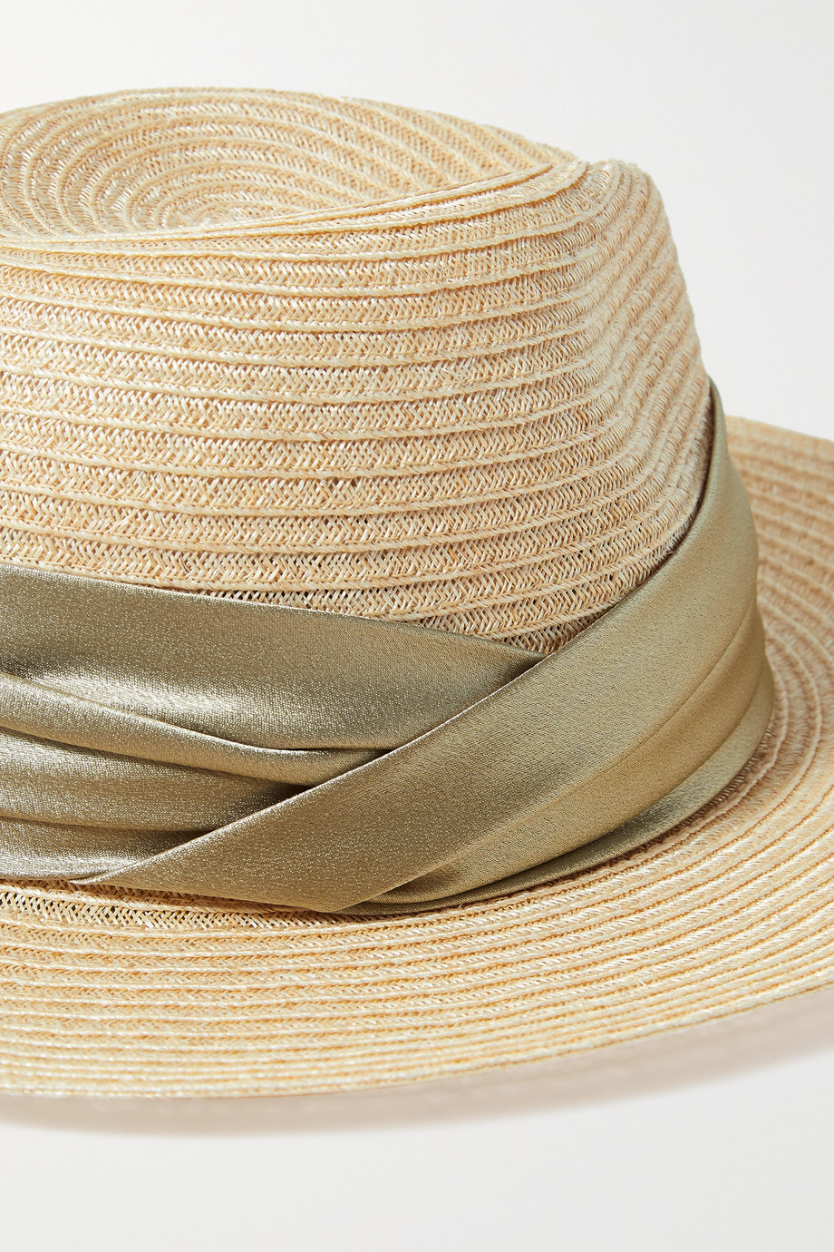 EUGENIA KIM Courtney satin-trimmed hemp-blend hat