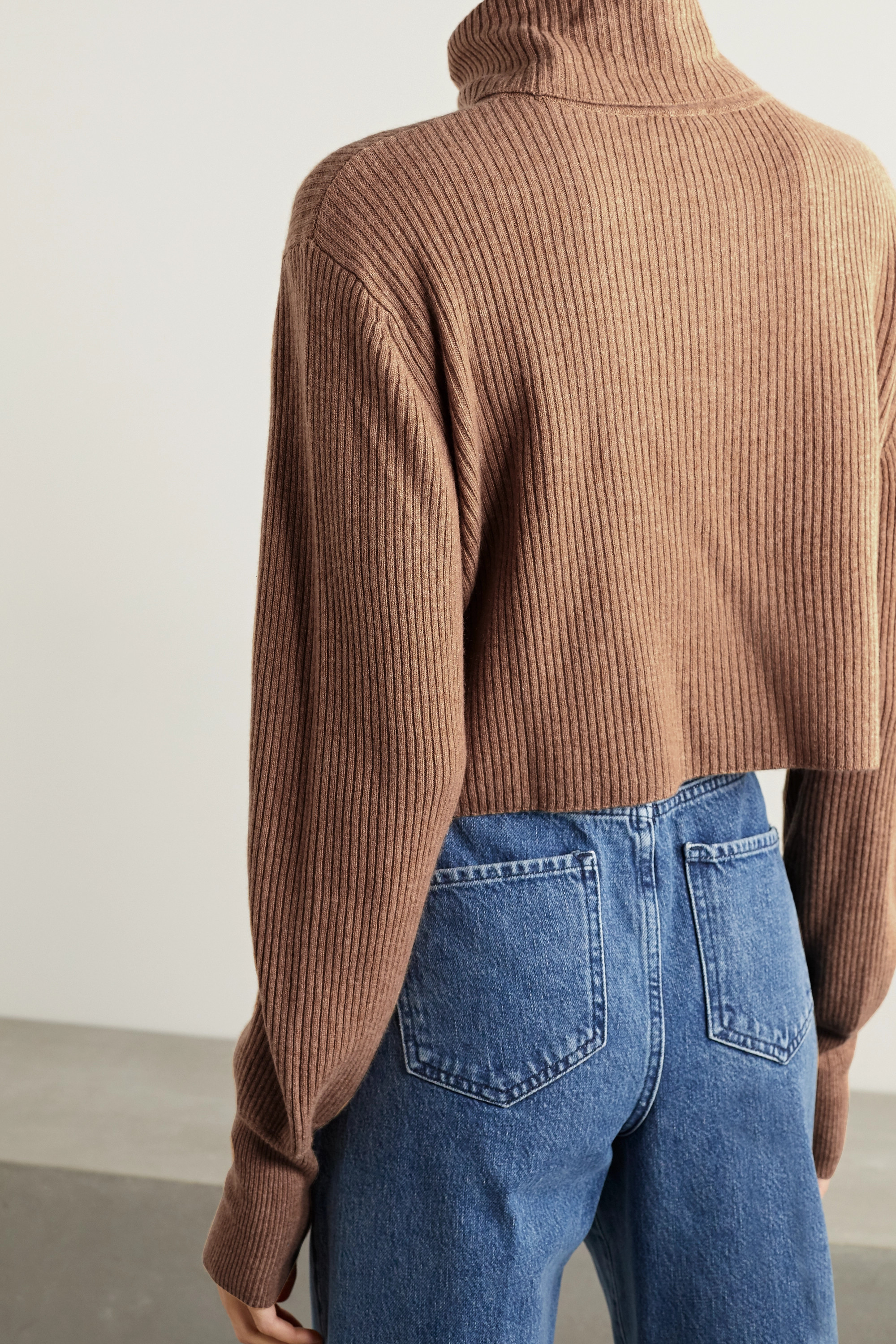 REFORMATION + NET SUSTAIN Luisa cropped ribbed recycled cashmere-blend turtleneck sweater