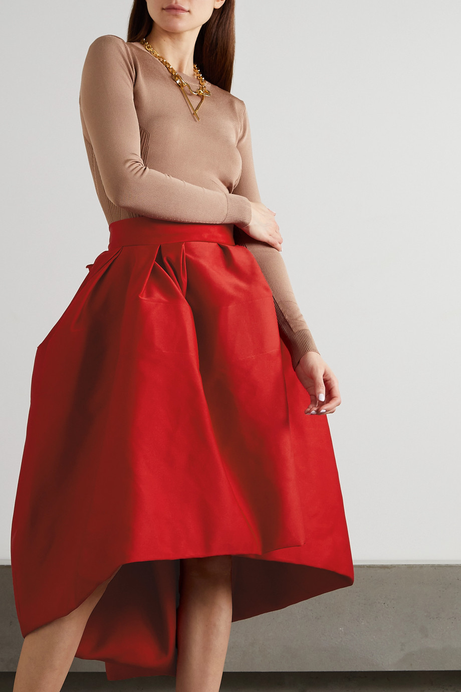 AZ FACTORY Switchwear bow-detailed recycled duchesse-satin skirt