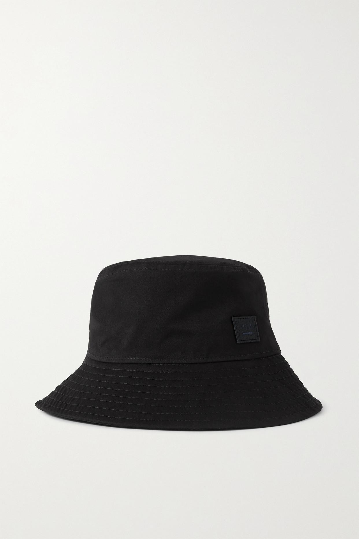 Acne Studios Appliquéd Cotton-twill Bucket Hat In Black