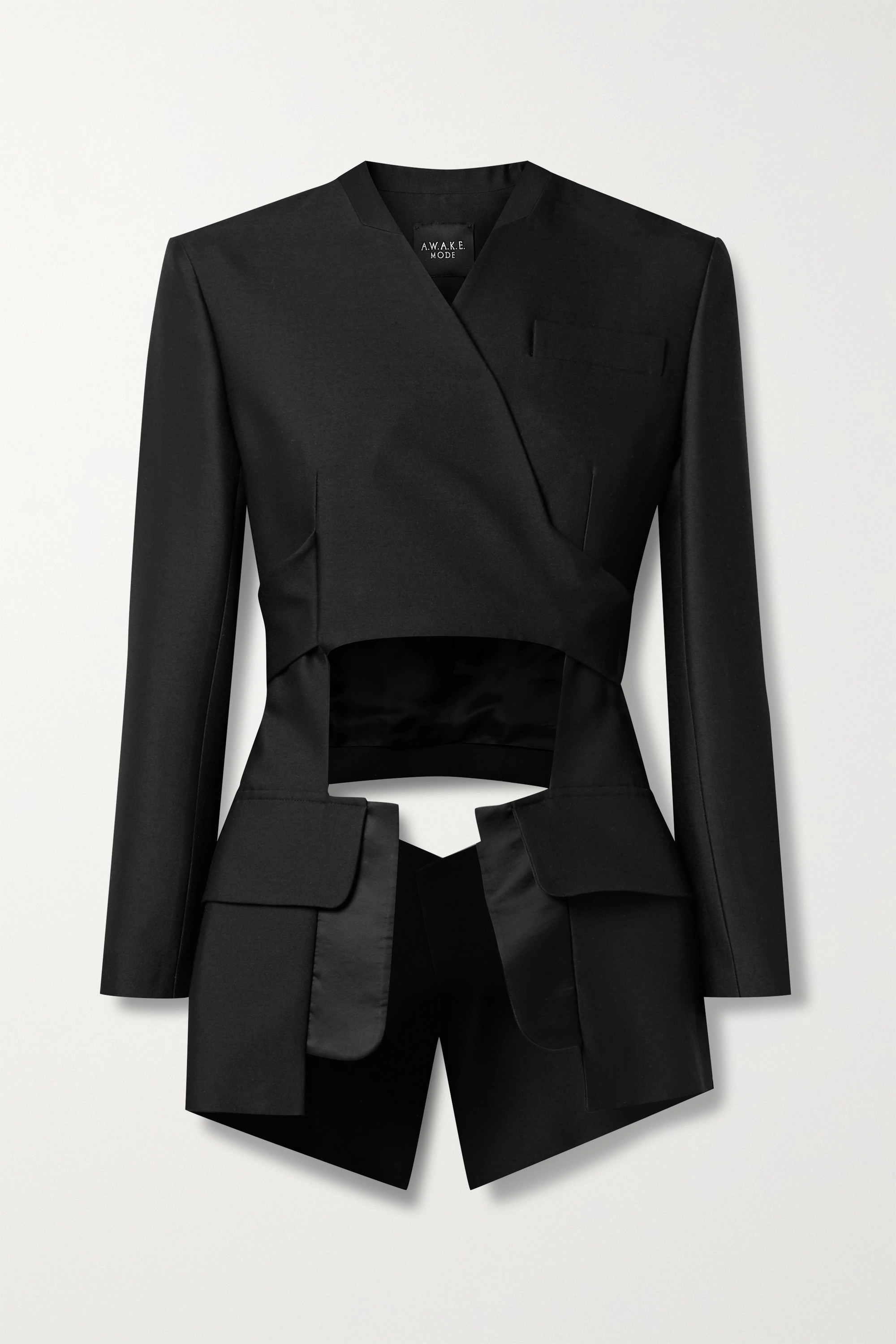 A.W.A.K.E. MODE Cutout satin-trimmed wool-twill wrap jacket