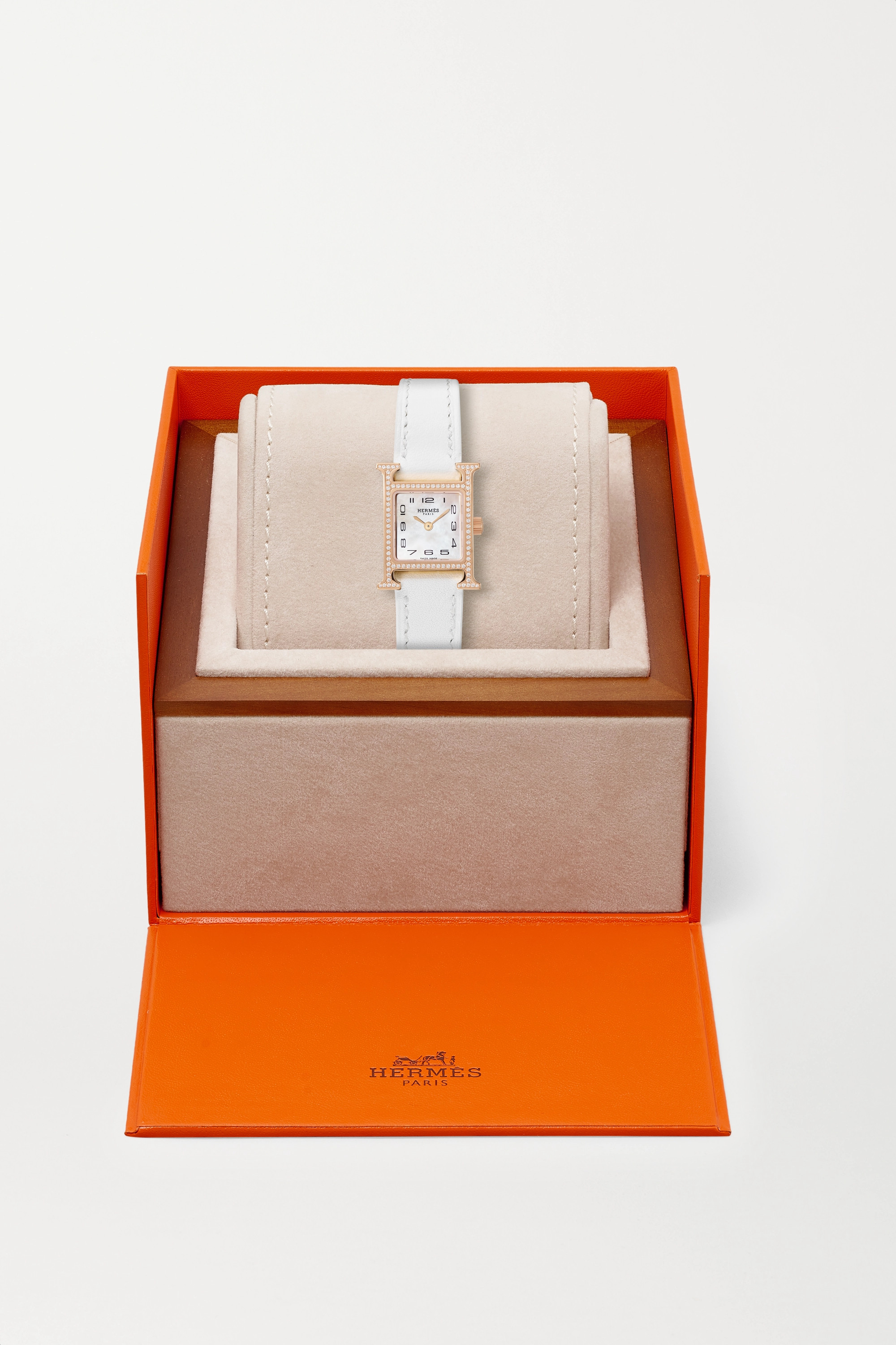 HERMÈS TIMEPIECES Heure H 17.2mm very small rose gold-plated, leather, mother-of-pearl and diamond watch