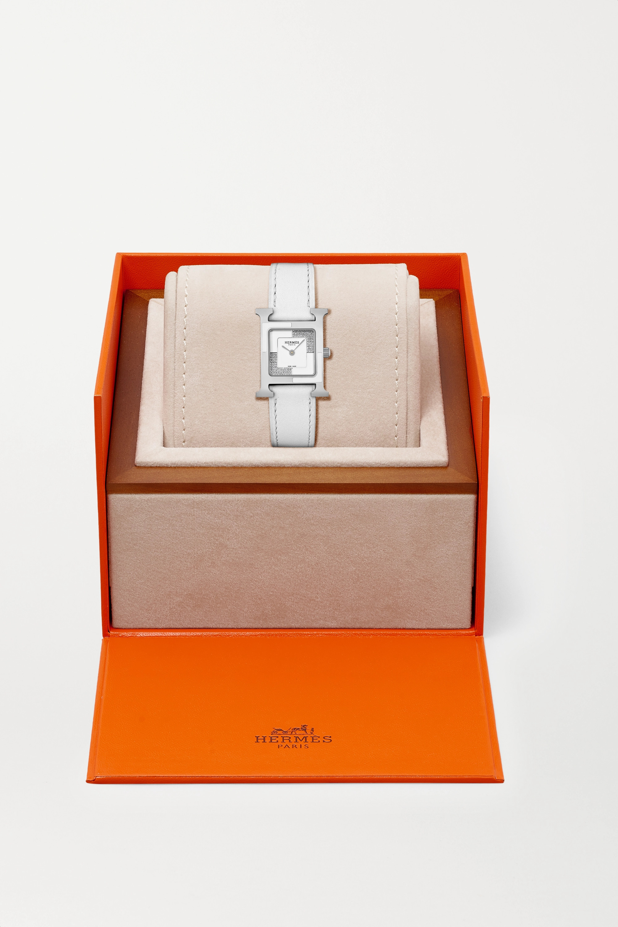 HERMÈS TIMEPIECES Heure H Au Carré 21mm small stainless steel, lacquer, leather and diamond watch