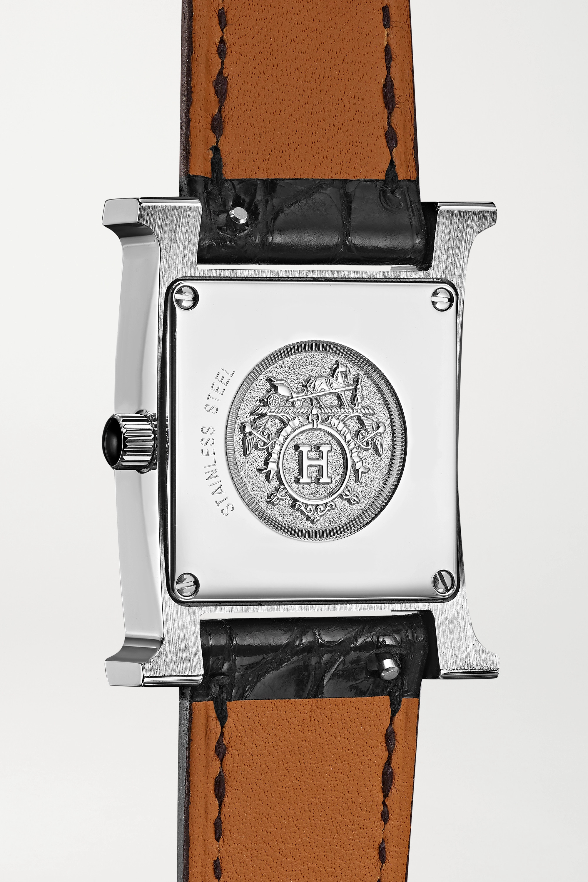 HERMÈS TIMEPIECES Heure H Au Carré 21mm small stainless steel, lacquer, alligator and diamond watch