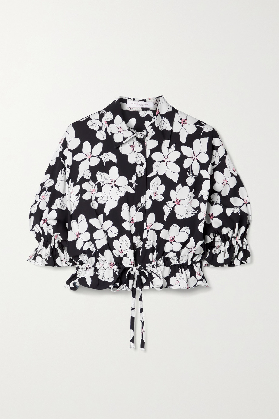 CAROLINA HERRERA Cropped floral-print twill top