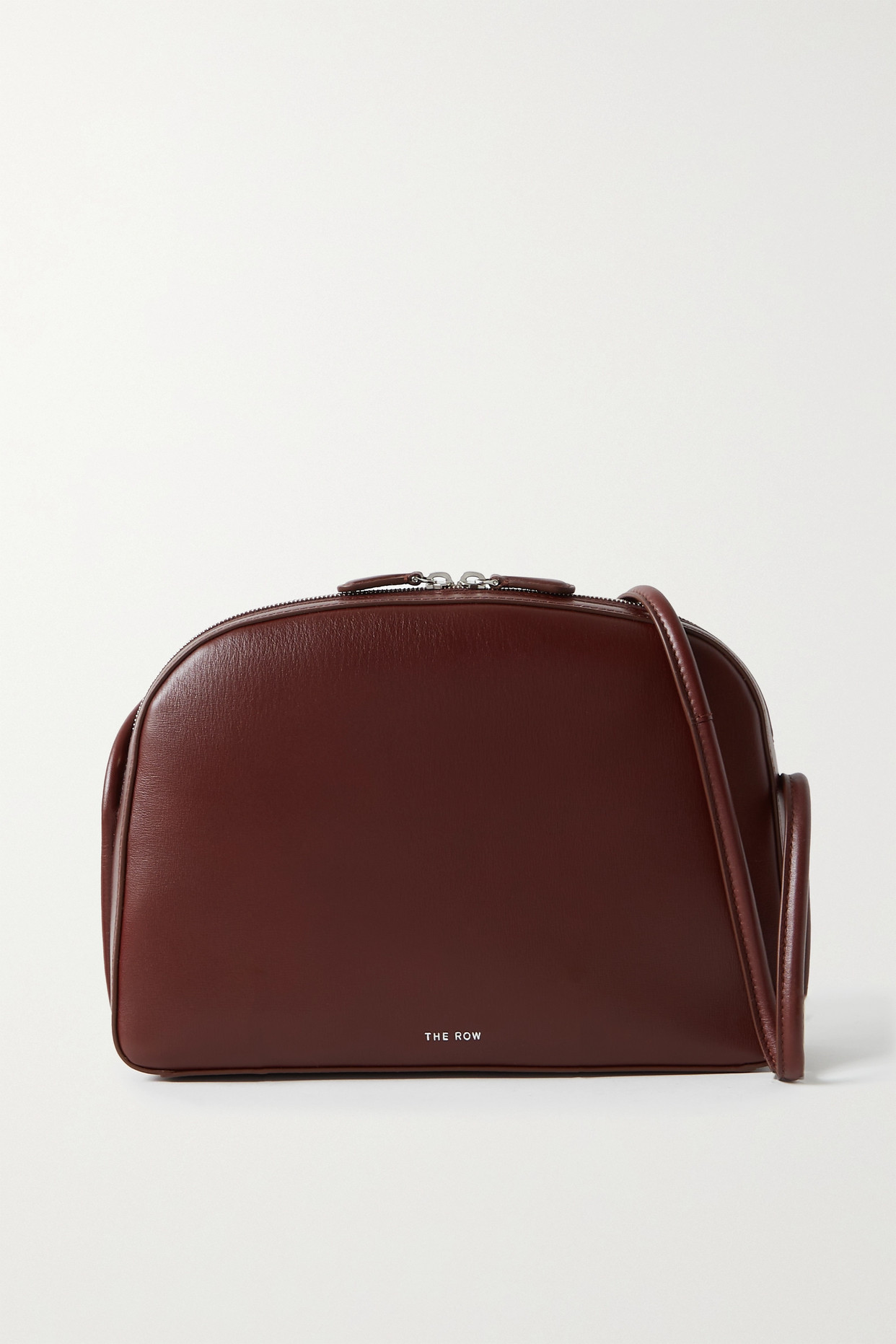 The Row Single Mignon Leather Shoulder Bag In Burgundy