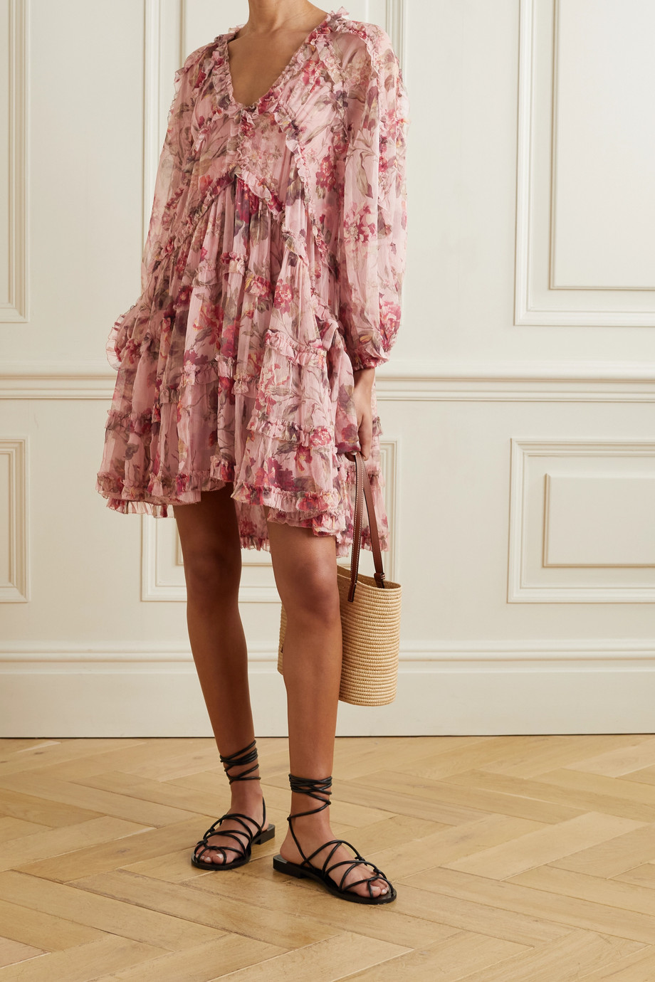 ZIMMERMANN Cassia ruffled floral-print silk-crepon mini dress