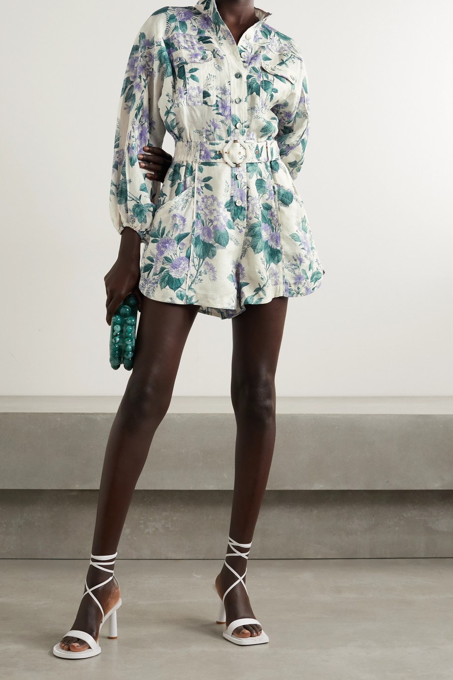 ZIMMERMANN Cassia belted floral-print linen playsuit