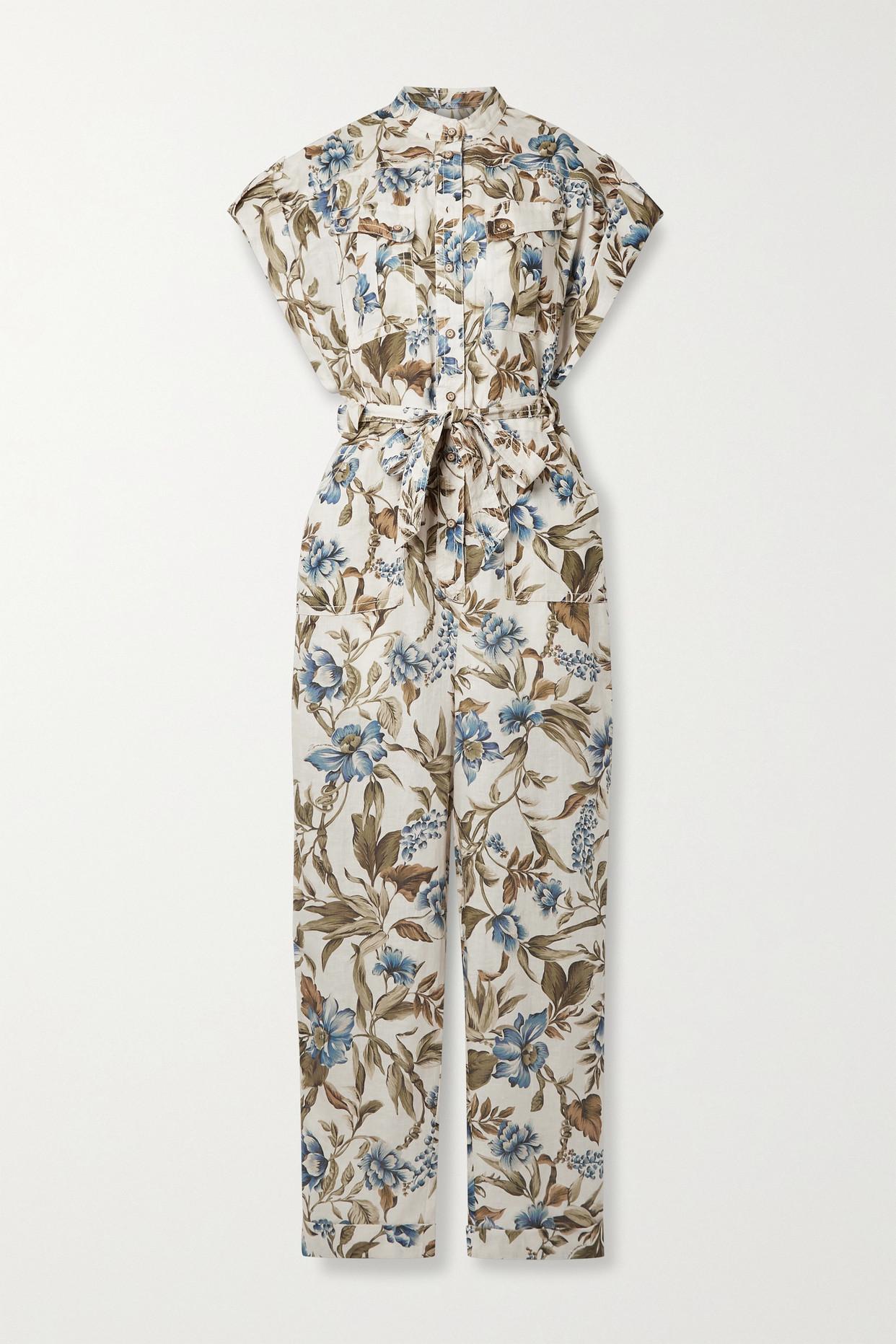 Zimmermann Liane Belted Floral-print Linen Jumpsuit In Green
