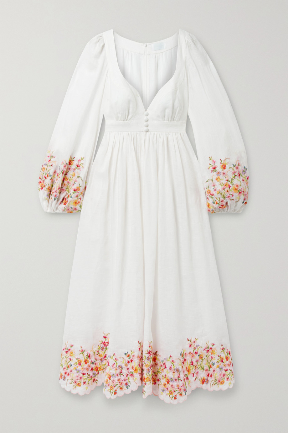 ZIMMERMANN Mae scalloped embroidered linen midi dress