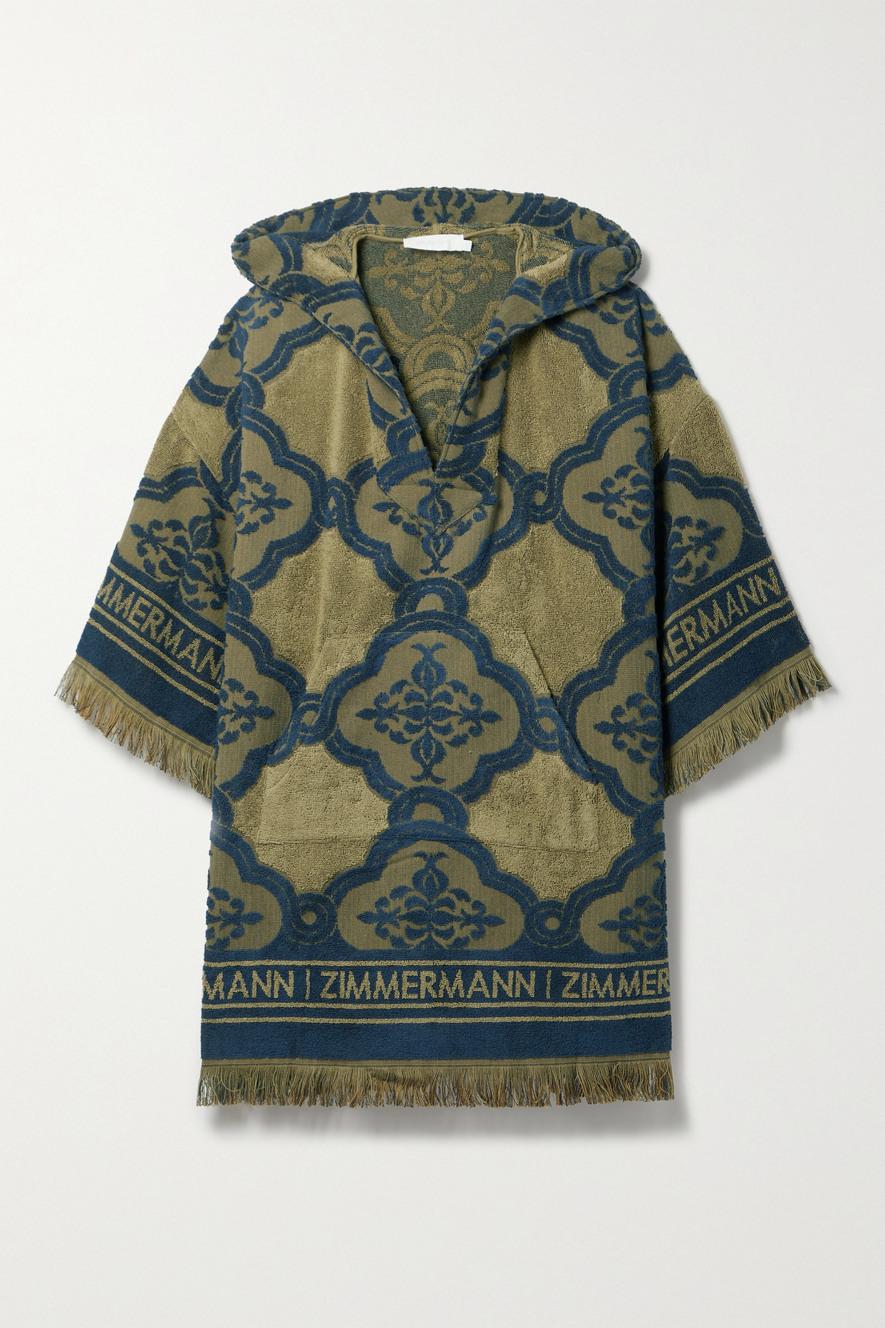 Zimmermann Aliane Hooded Fringed Cotton-terry Jacquard Mini Dress In Green