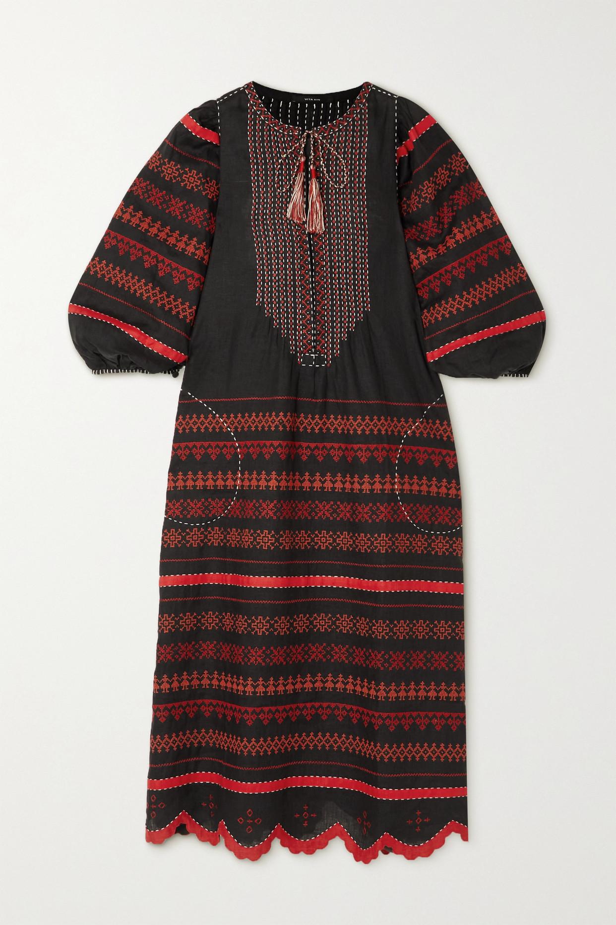 VITA KIN - Belarus Tasseled Embroidered Linen Midi Dress - Black - small
