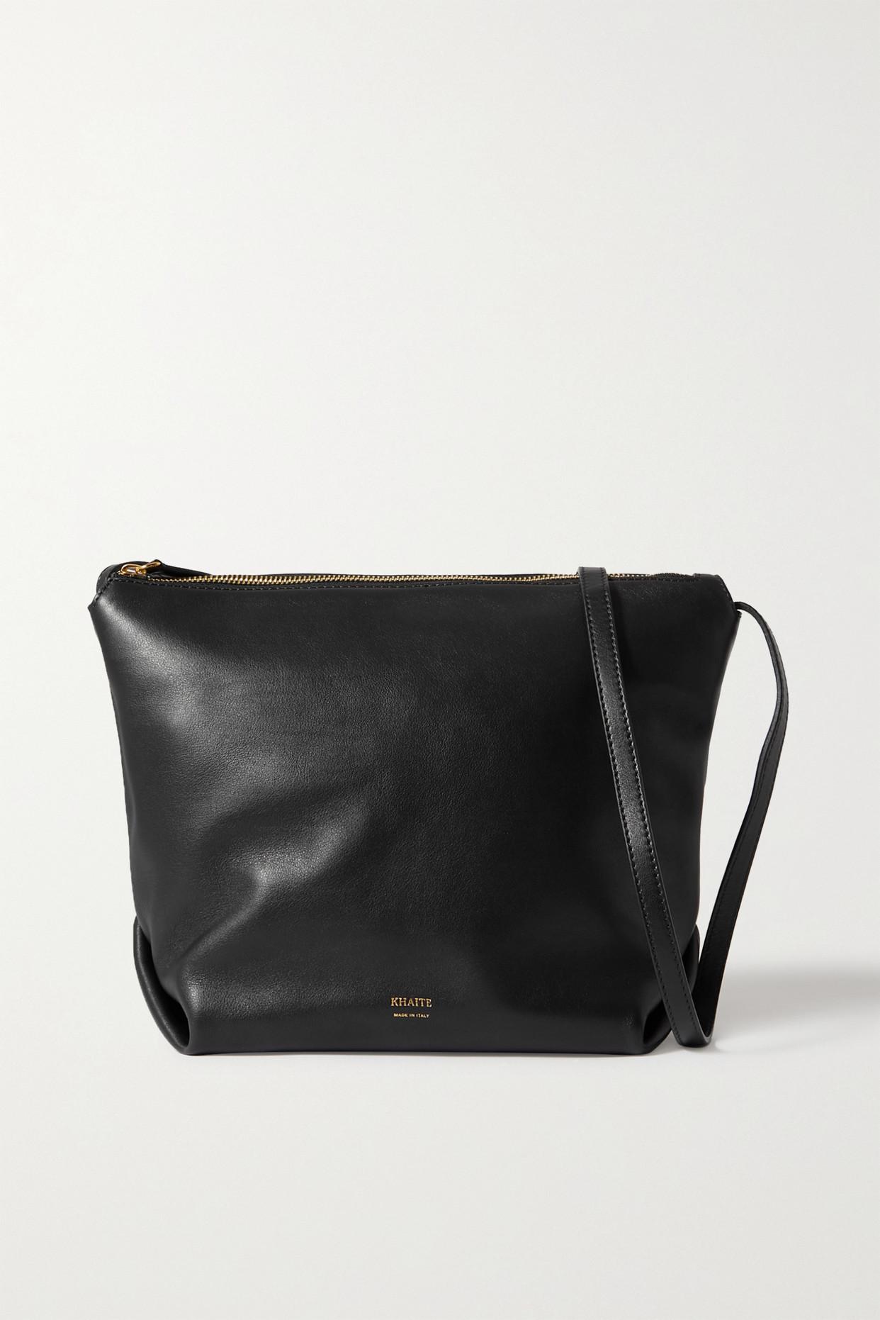 Khaite Frances Leather Shoulder Bag In Black