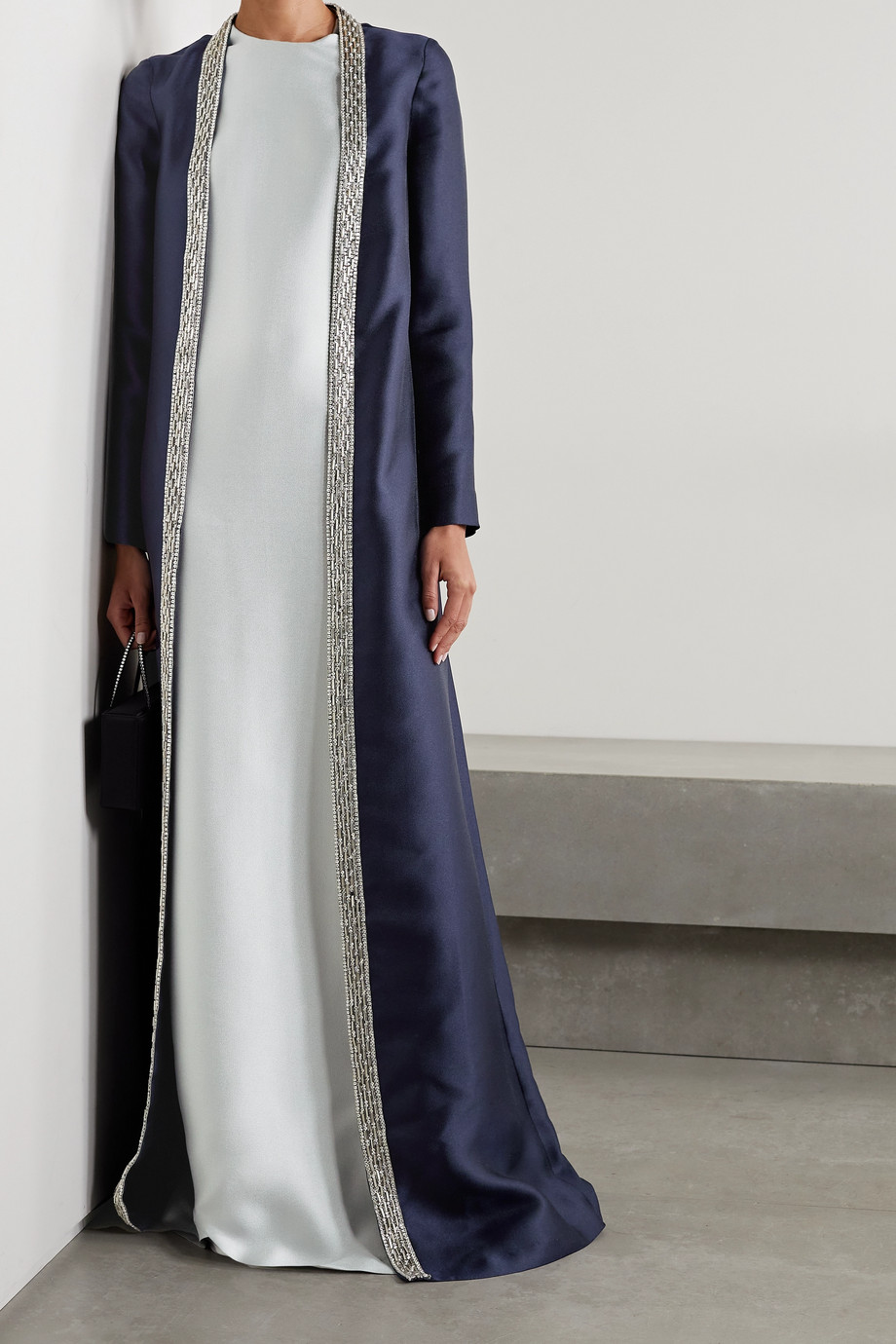 REEM ACRA Embellished layered mikado-piqué gown