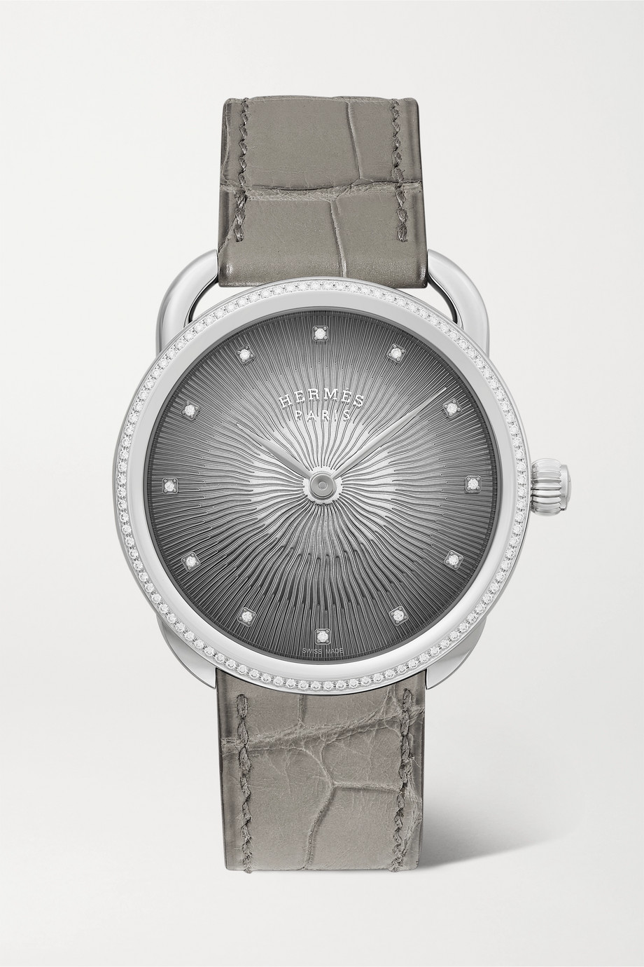 HERMÈS TIMEPIECES Arceau Soleil 36mm medium stainless steel, alligator and diamond watch