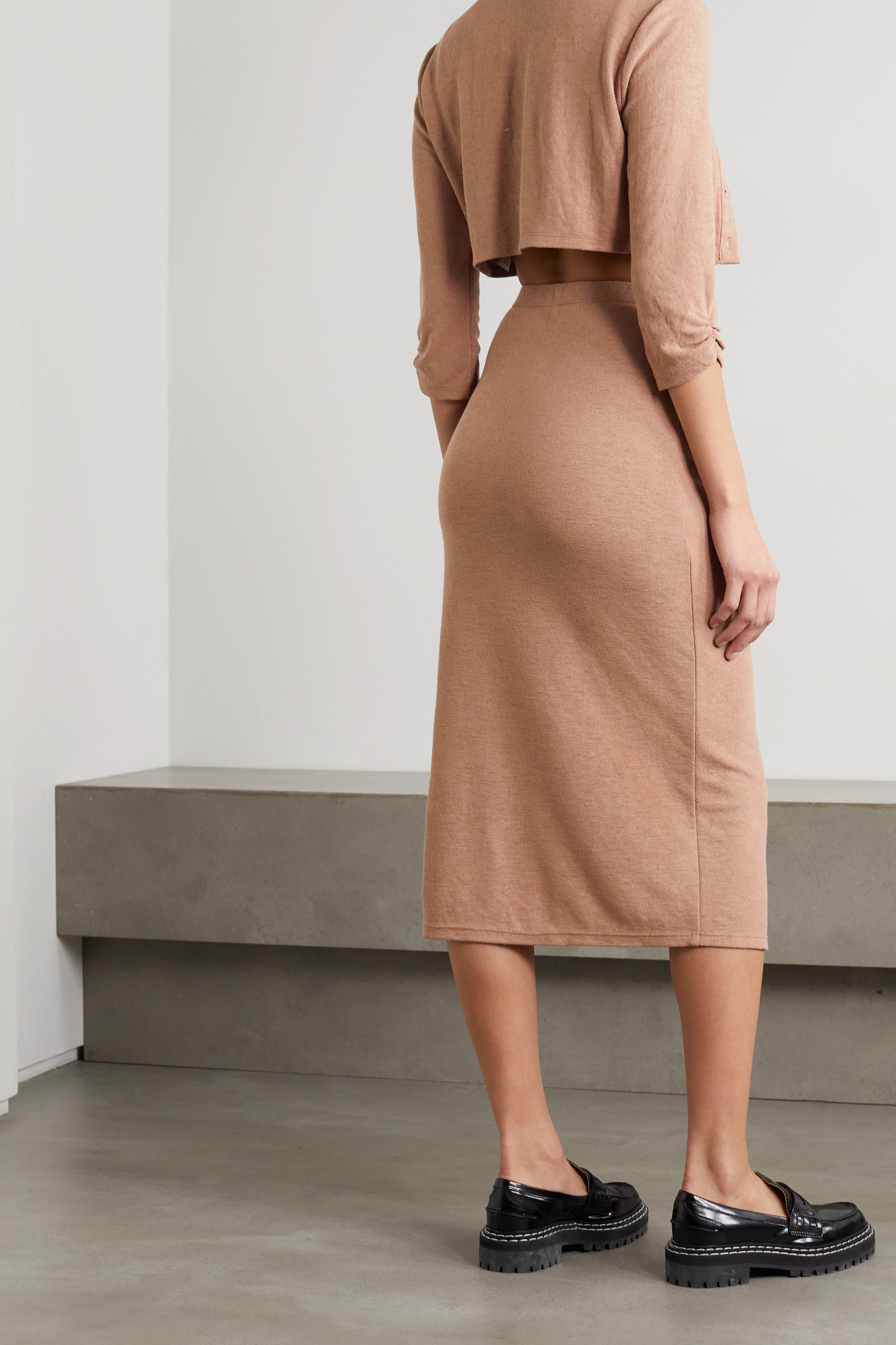 REFORMATION + NET SUSTAIN Janice knitted cardigan, camisole and midi skirt set