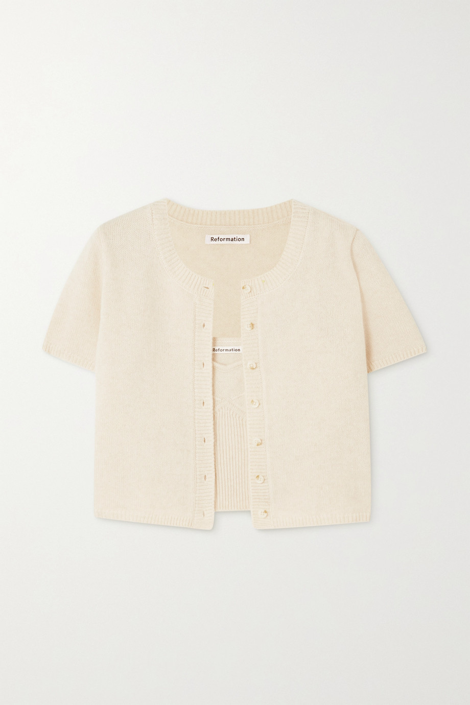 REFORMATION + NET SUSTAIN Gisela recycled cashmere-blend cardigan and camisole set