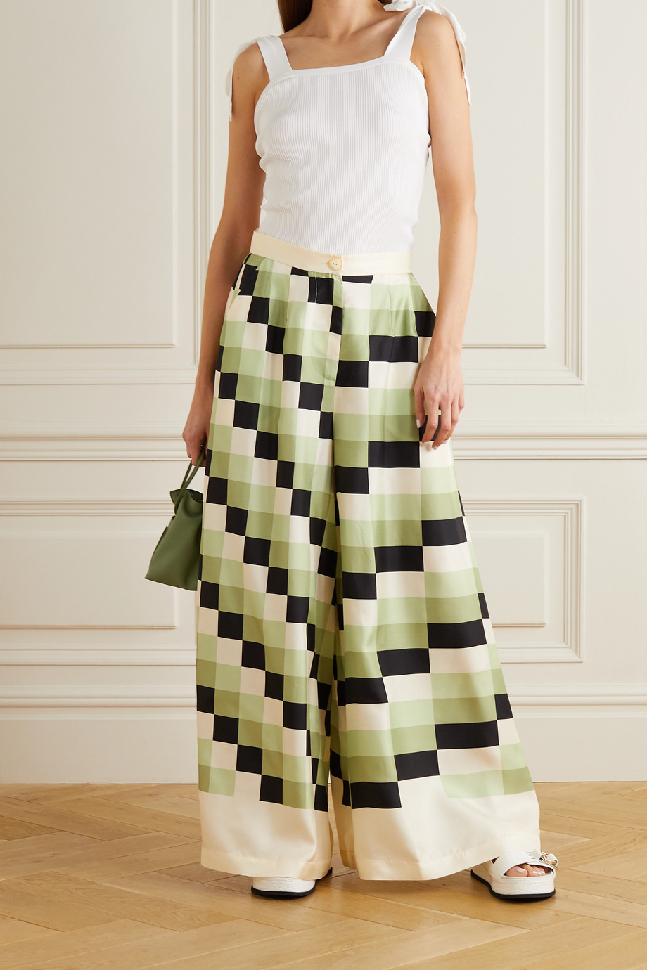 LOUISA PARRIS + NET SUSTAIN The Vienna printed silk-twill wide-leg pants
