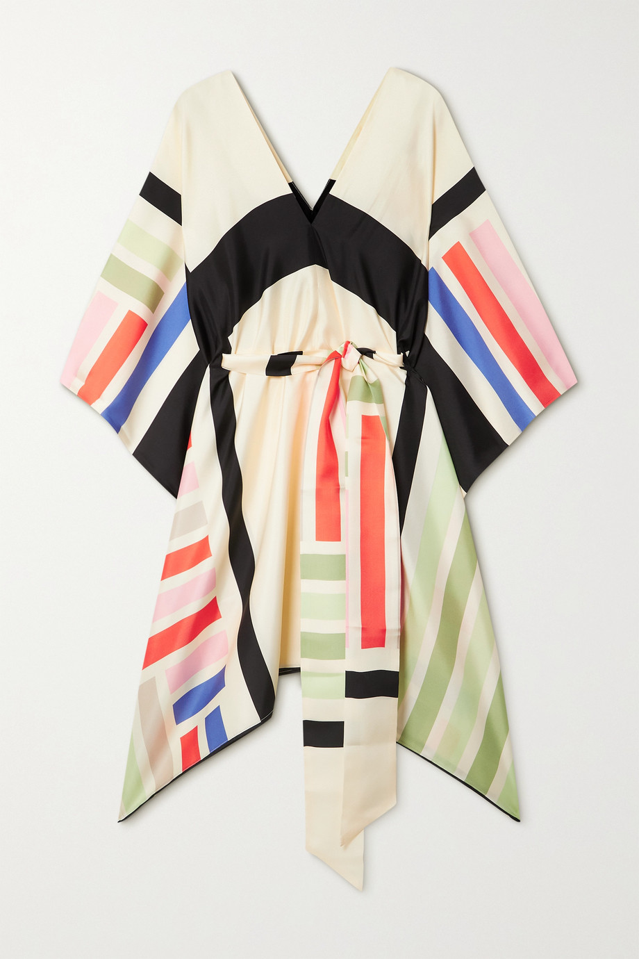 LOUISA PARRIS + NET SUSTAIN Cole asymmetric belted printed silk-twill dress