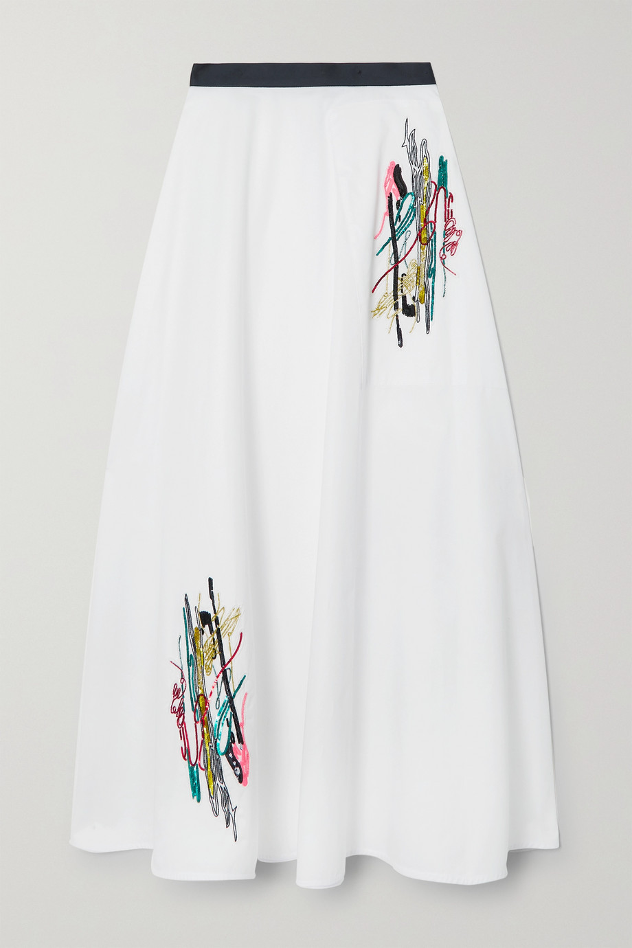 CHRISTOPHER KANE Squiggle embellished cotton-poplin skirt