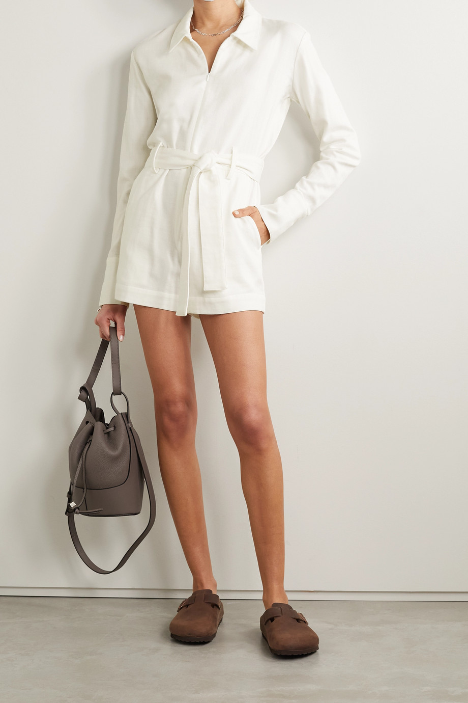 RIVET UTILITY + NET SUSTAIN Trendsetter belted cotton-twill playsuit