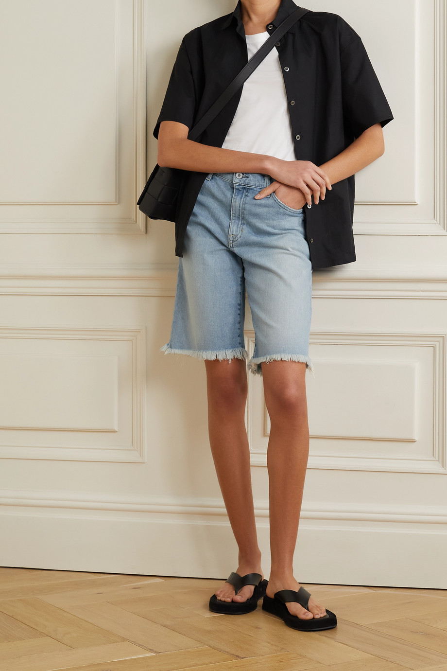 NILI LOTAN Boyfriend frayed denim shorts