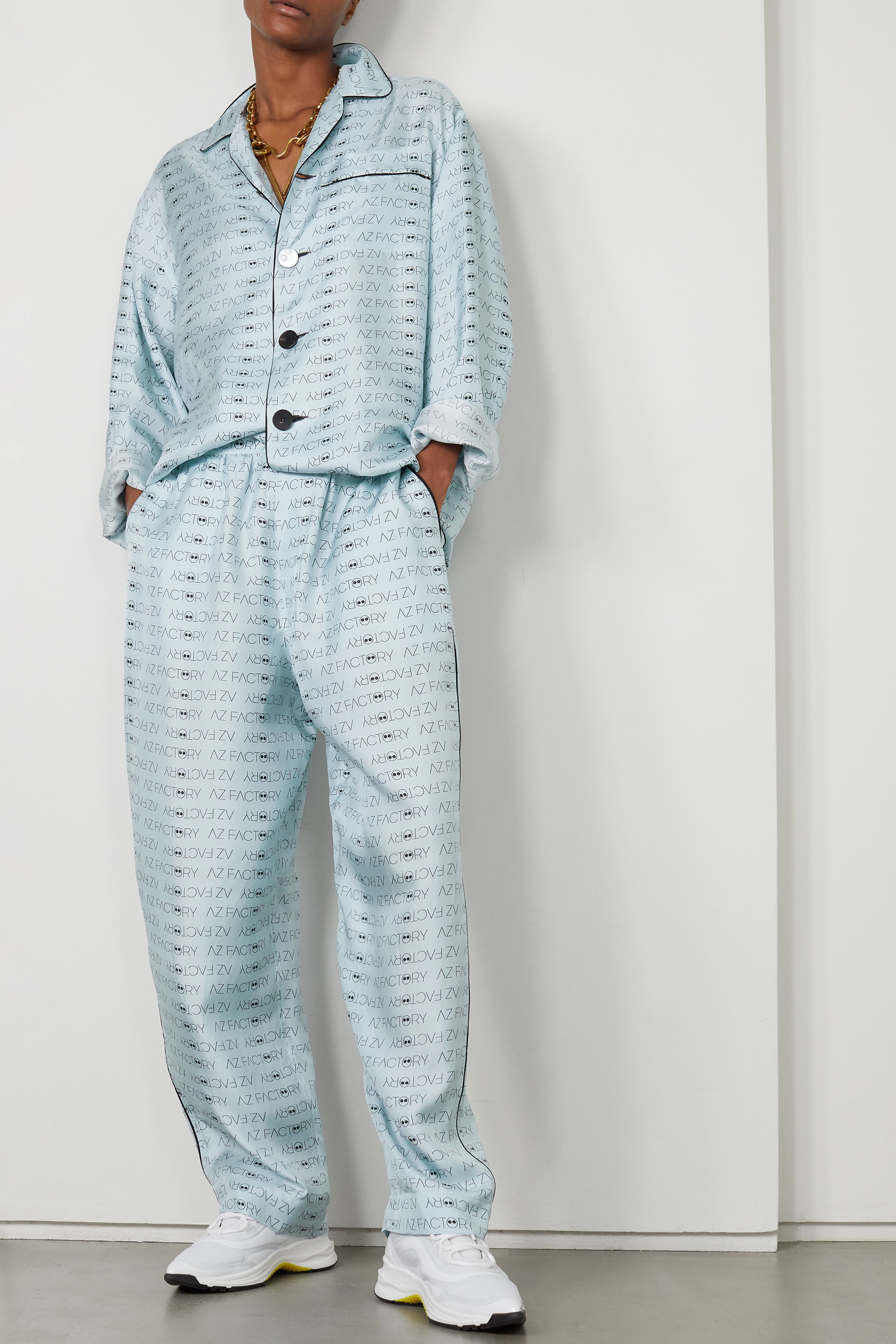 AZ FACTORY Pijama Look But Don't Touch printed silk-twill shirt