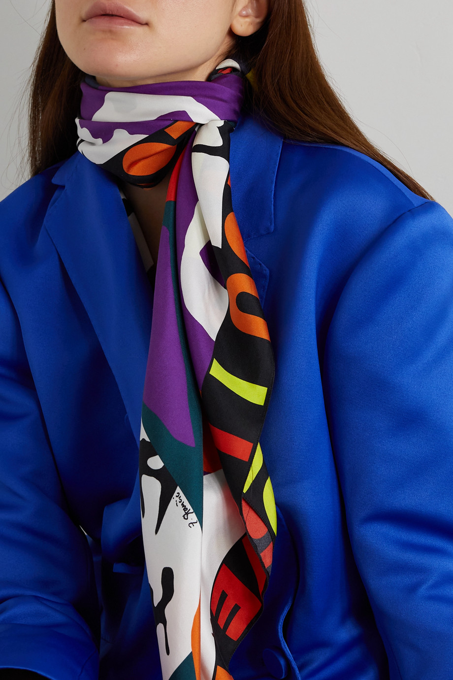 AZ FACTORY Pijama The Kiss printed silk-twill scarf