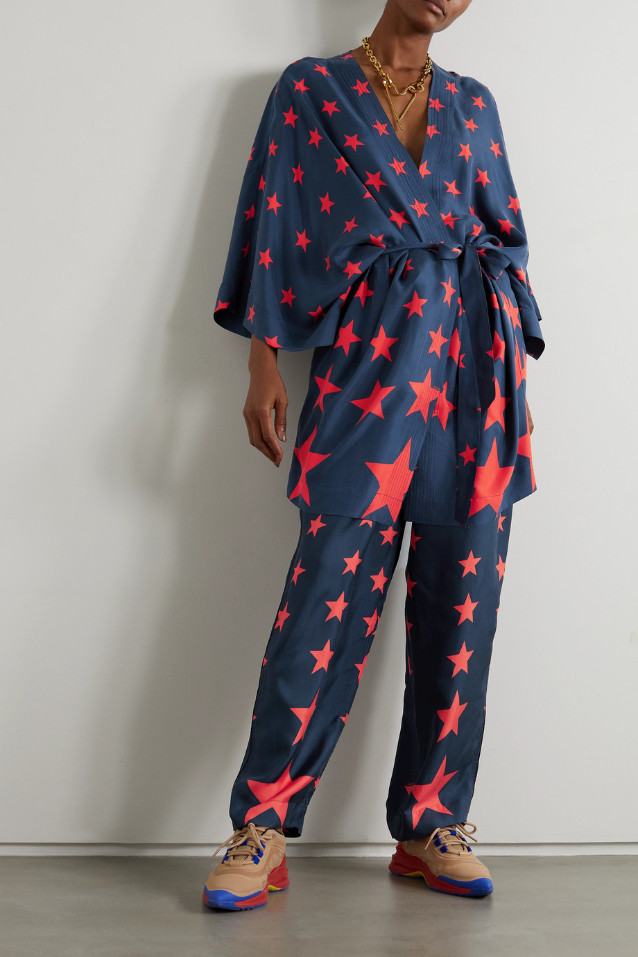 AZ FACTORY Pijama You're A Star printed silk-twill wide-leg pants