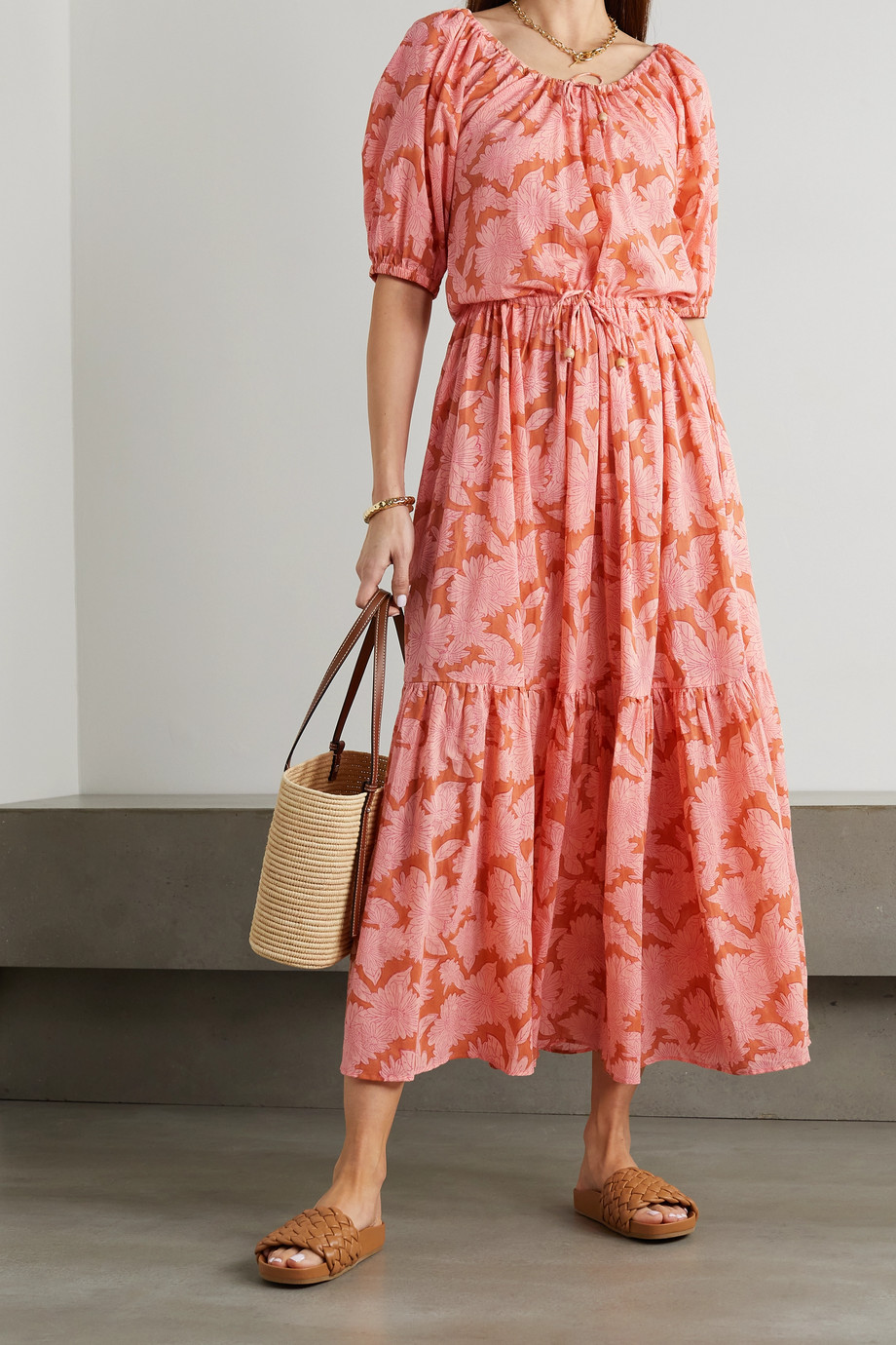 HANNAH ARTWEAR + NET SUSTAIN Lotus tiered floral-print cotton dress
