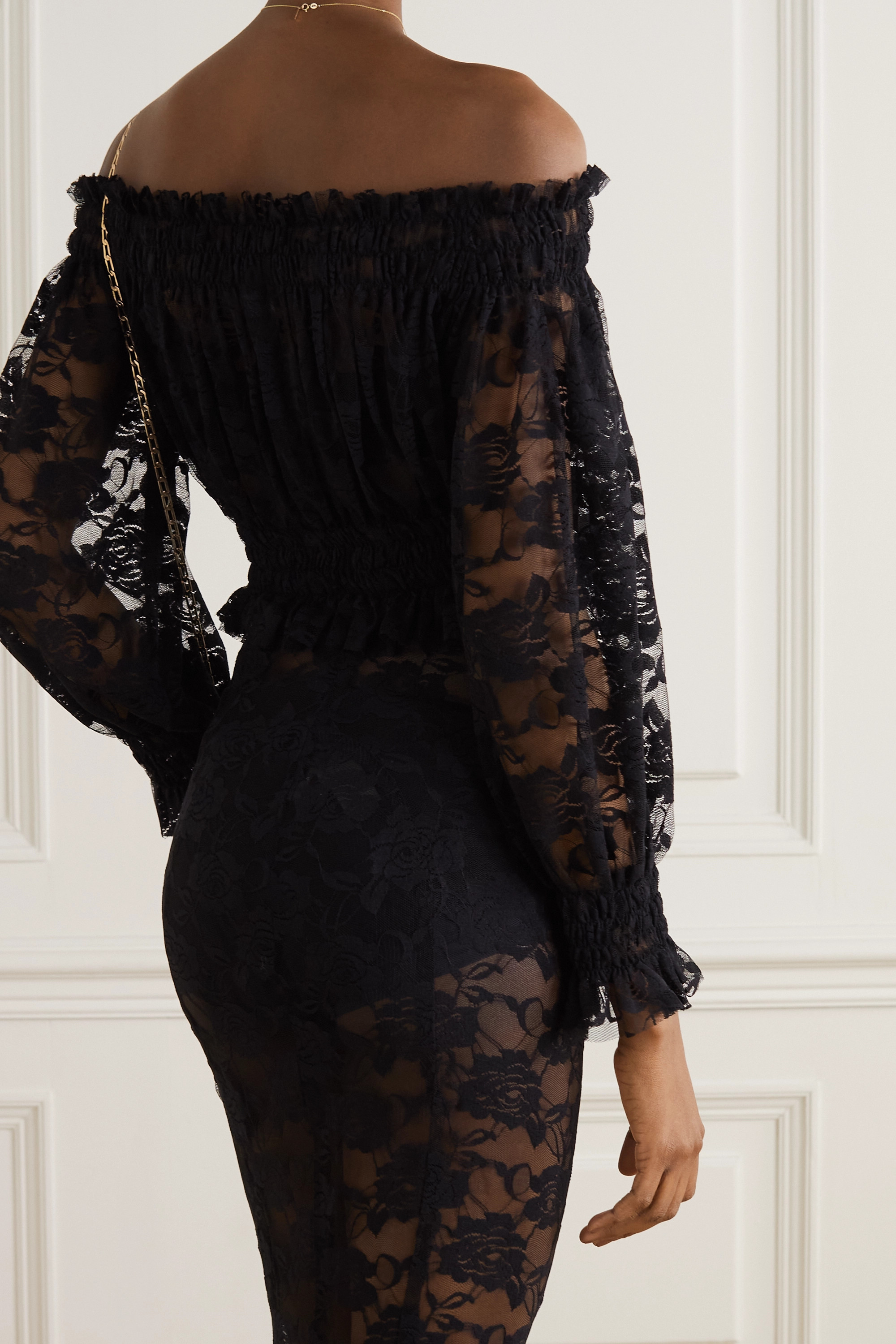 NORMA KAMALI Cropped off-the-shoulder shirred lace top