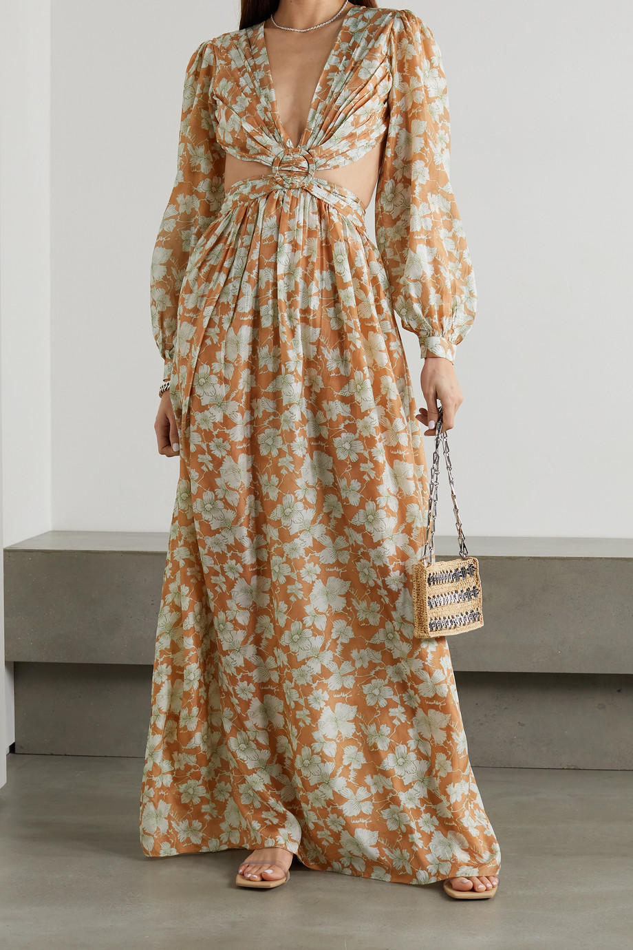 HANNAH ARTWEAR + NET SUSTAIN Rio cutout floral-print silk maxi dress