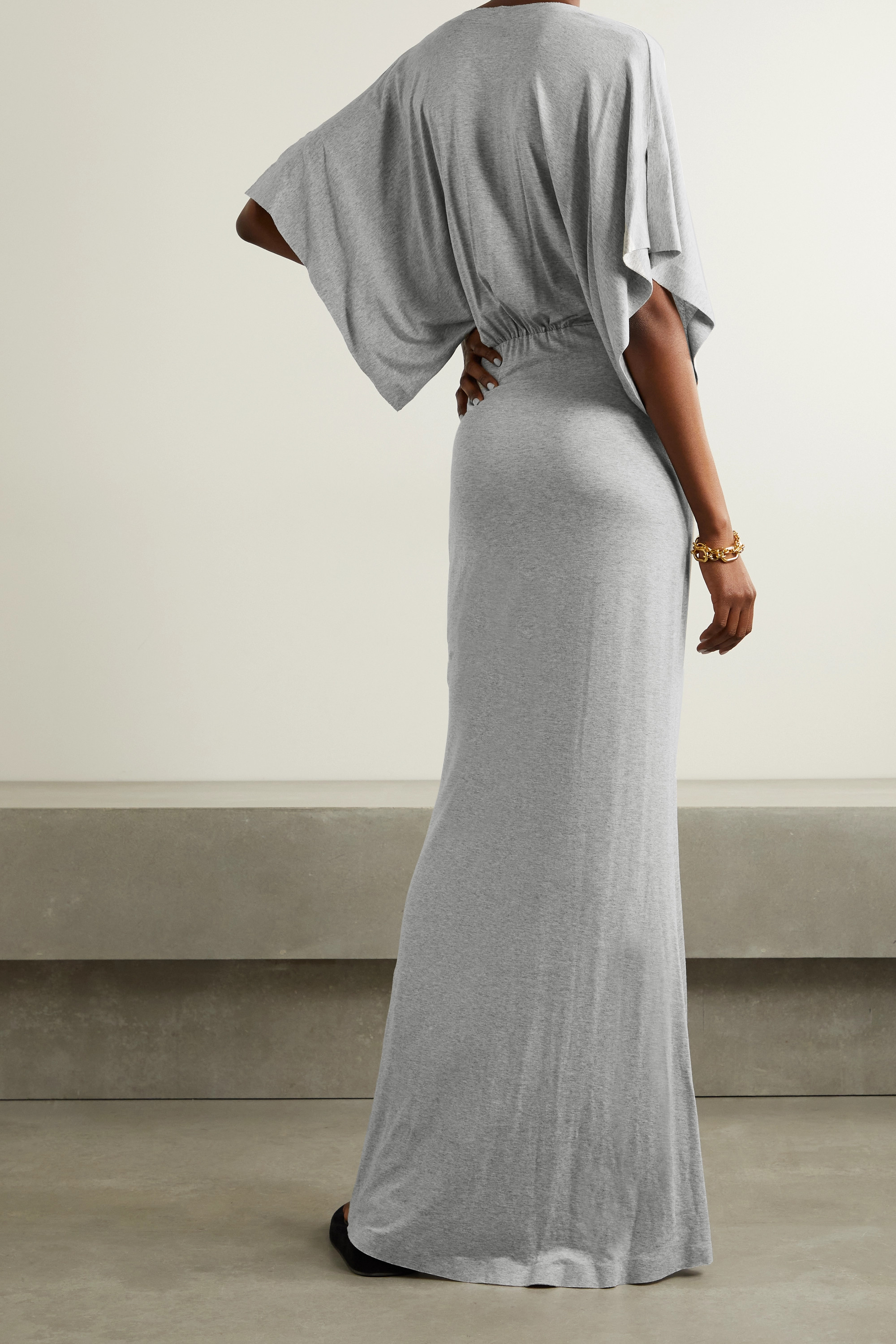 NORMA KAMALI Obie mélange stretch-modal jersey maxi dress
