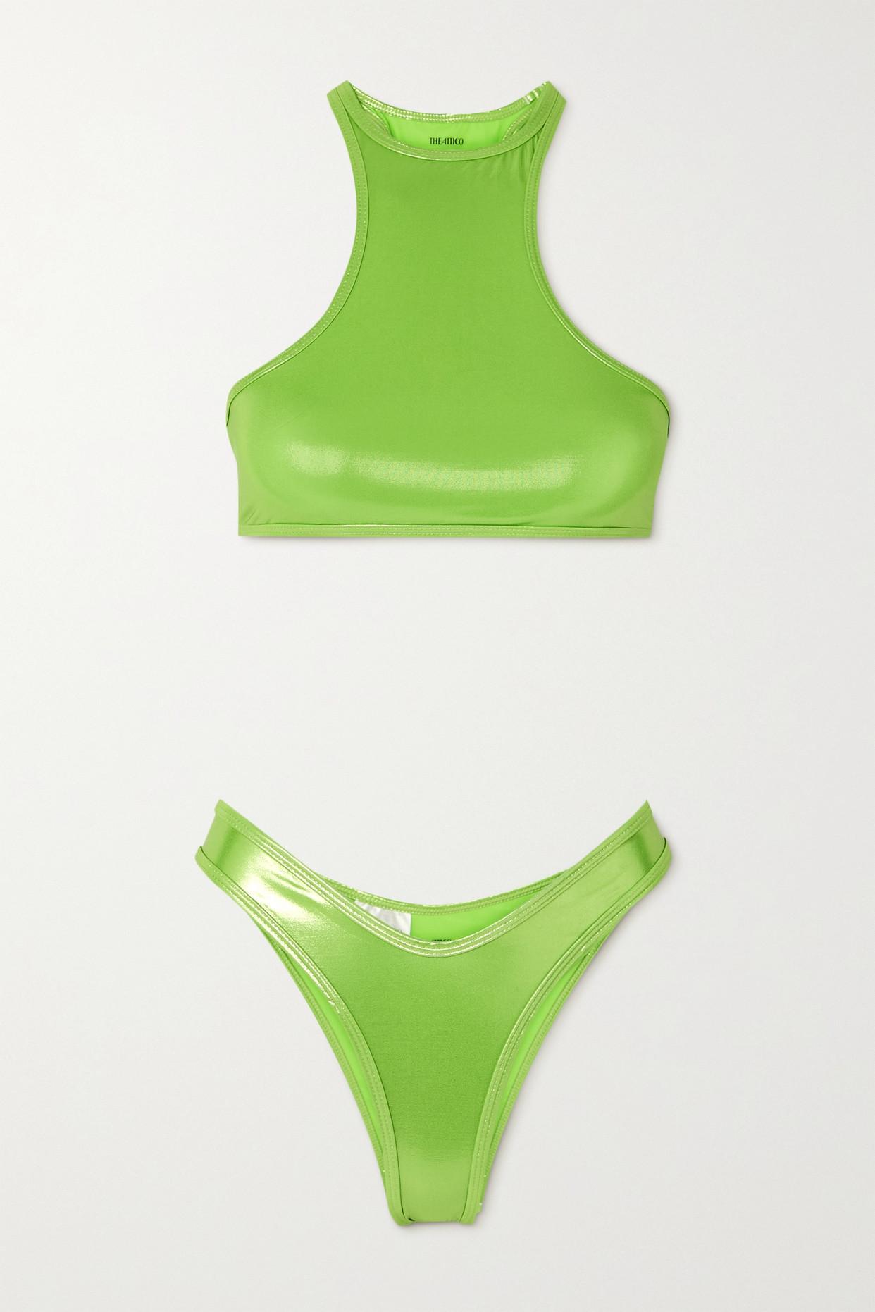 THE ATTICO - Metallic Bikini - Green - x small