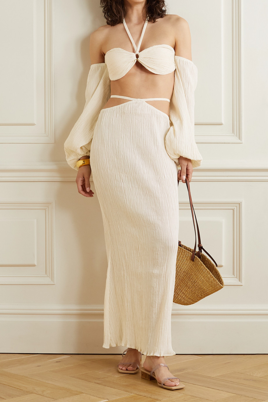 SAVANNAH MORROW THE LABEL + NET SUSTAIN Delilah cutout crinkled organic cotton-gauze maxi skirt