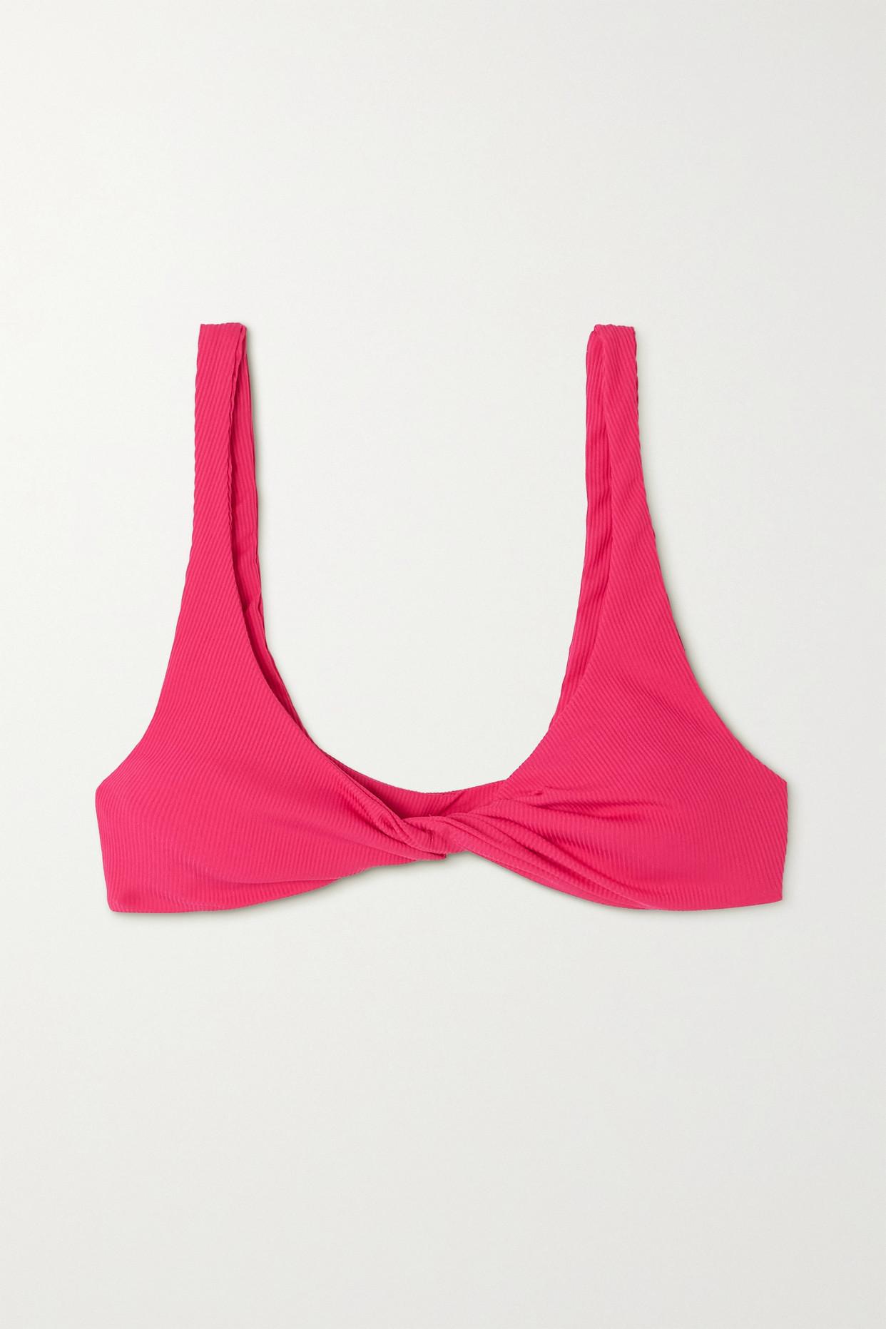 THE ATTICO - Twisted Ribbed Triangle Bikini Top - Pink - x small