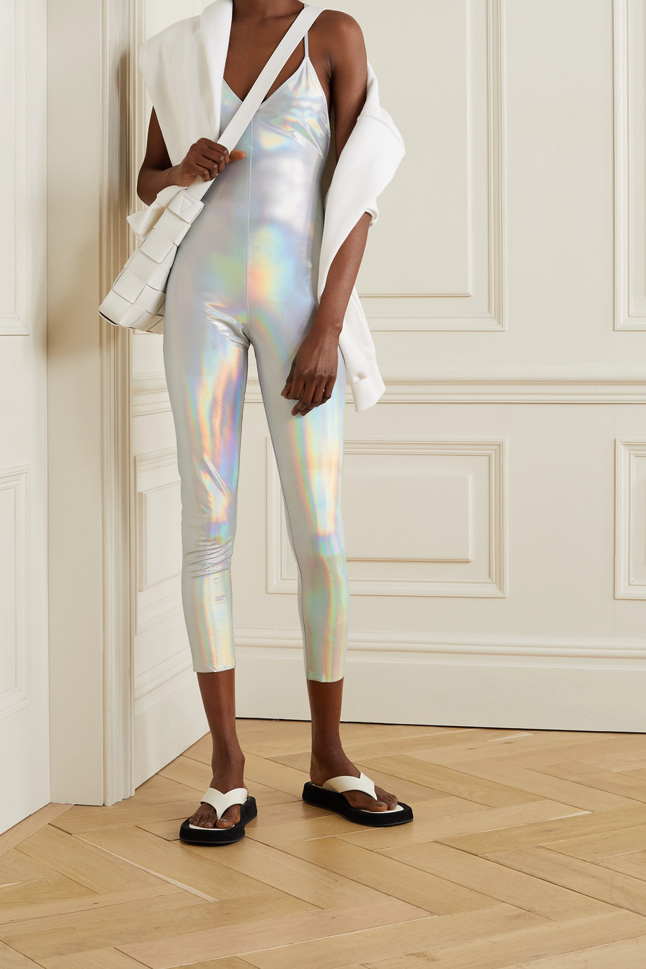 NORMA KAMALI Fara open-back iridescent coated stretch-jersey jumpsuit