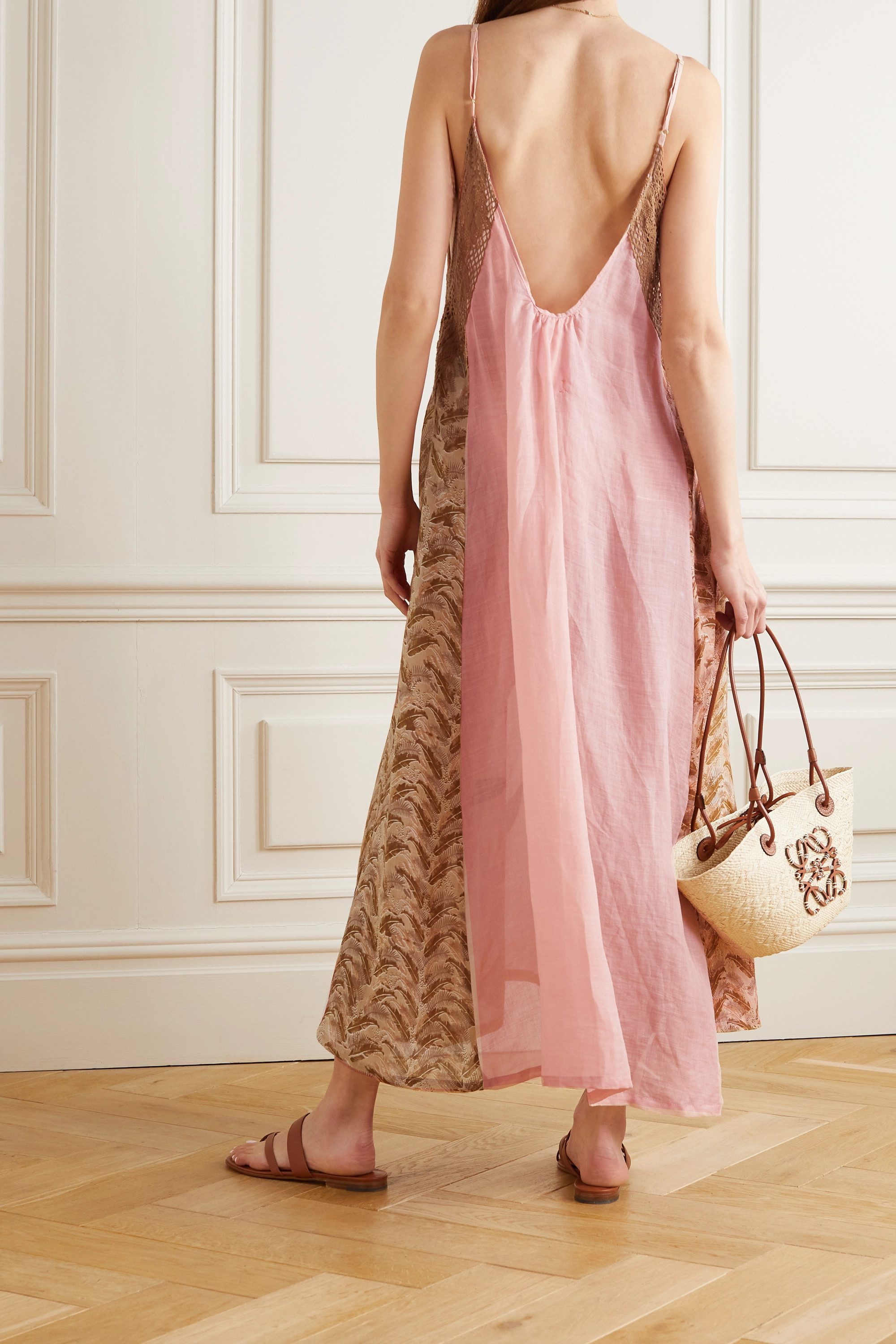 YVONNE S Crochet-trimmed printed linen maxi dress