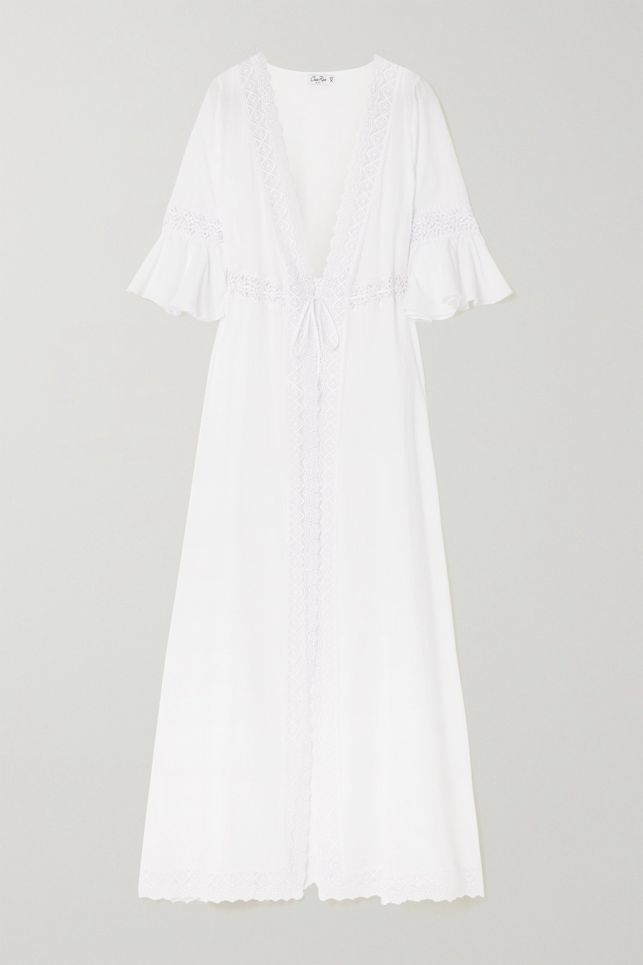 CHARO RUIZ Crocheted lace-trimmed cotton-blend voile robe