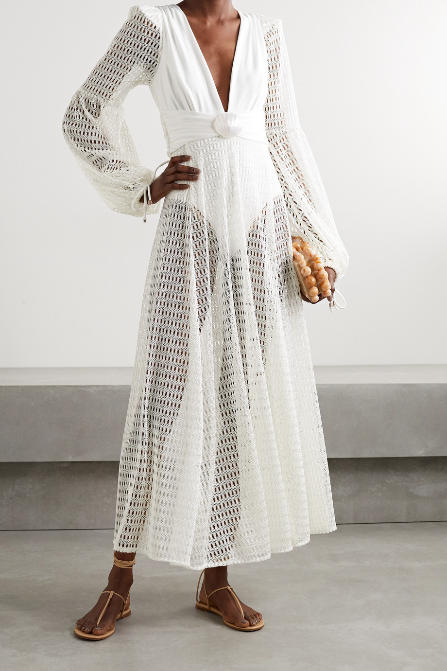 PATBO Embellished stretch-jersey and crochet-knit maxi dress