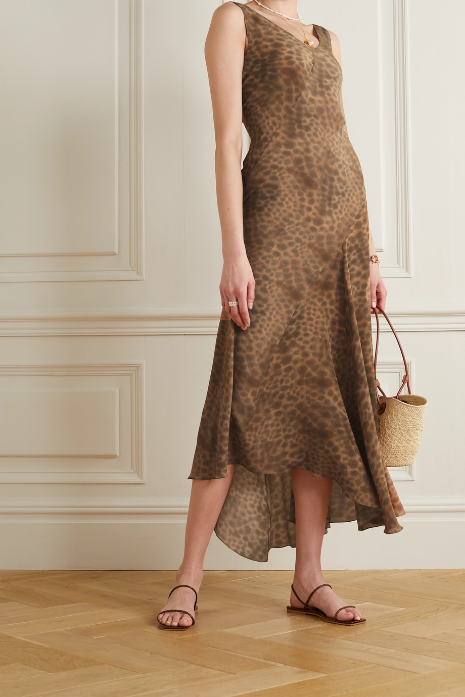 CORTANA + NET SUSTAIN Felino asymmetric leopard-print silk maxi dress