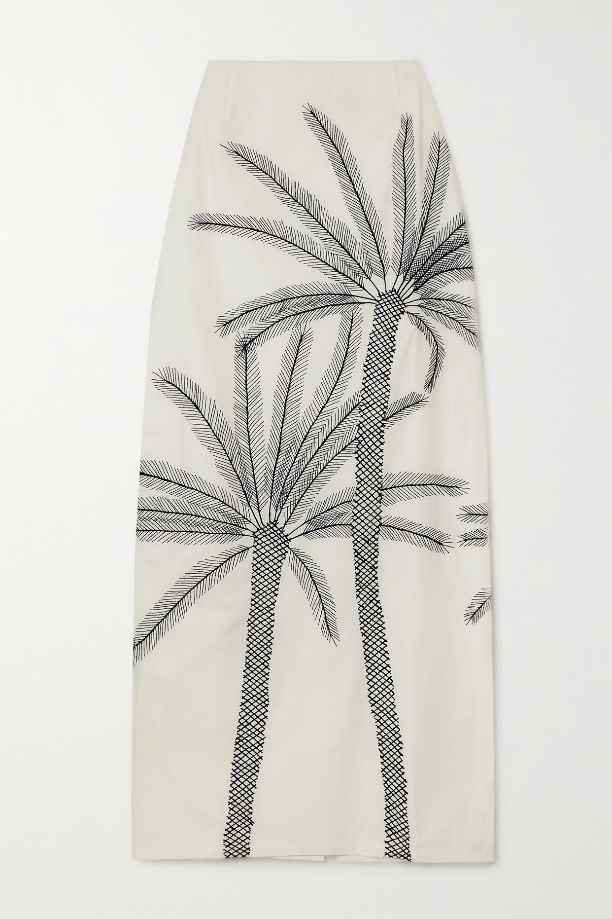 LE SIRENUSE POSITANO - Monica Embroidered Cotton-poplin Maxi Skirt - Ivory - IT42