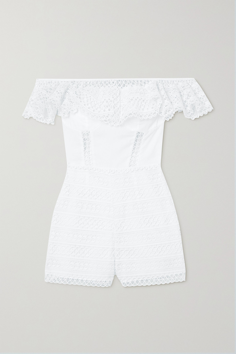 CHARO RUIZ Cotton-blend poplin and crocheted lace playsuit