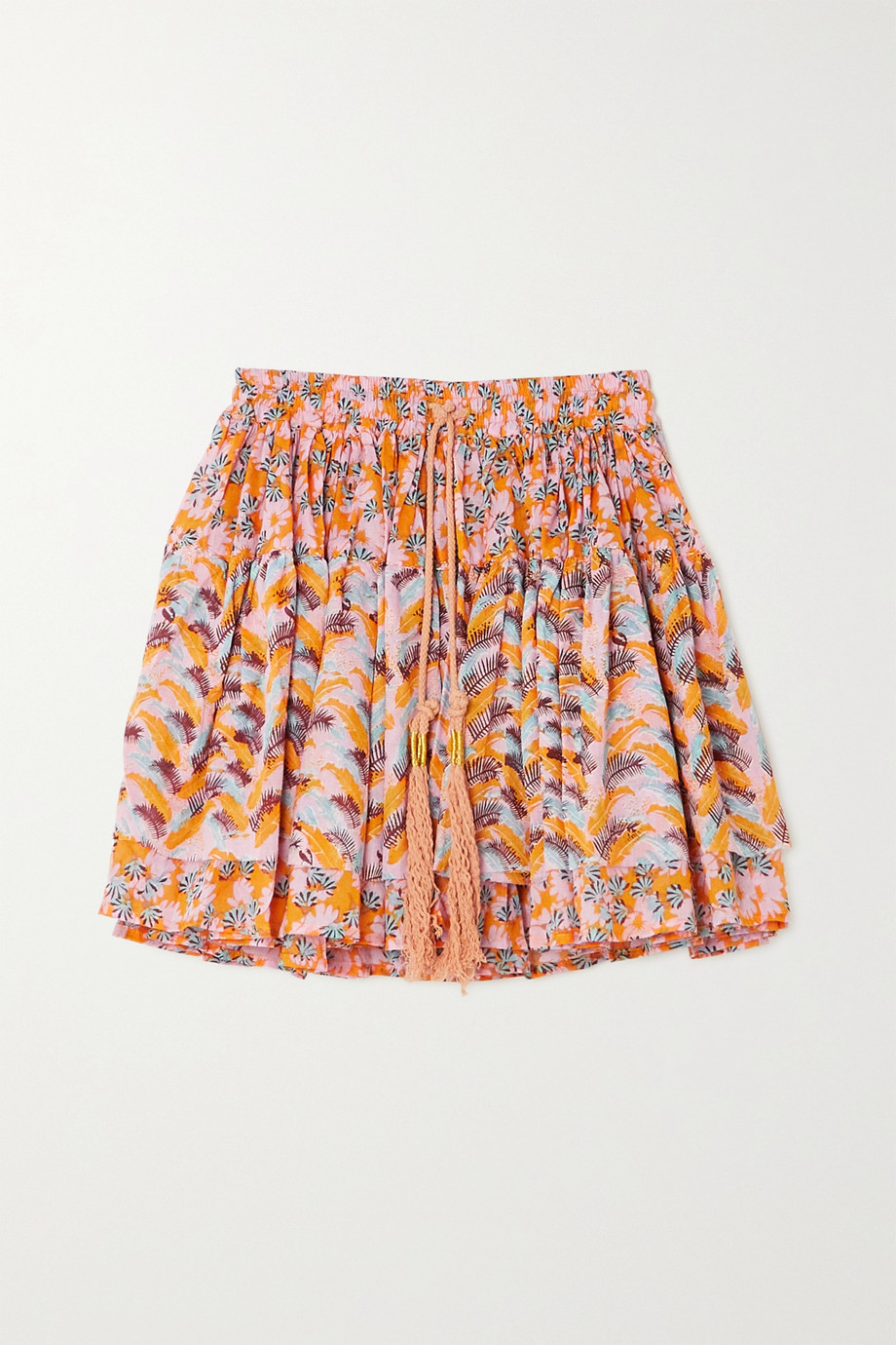 YVONNE S Tasseled printed cotton-voile mini skirt