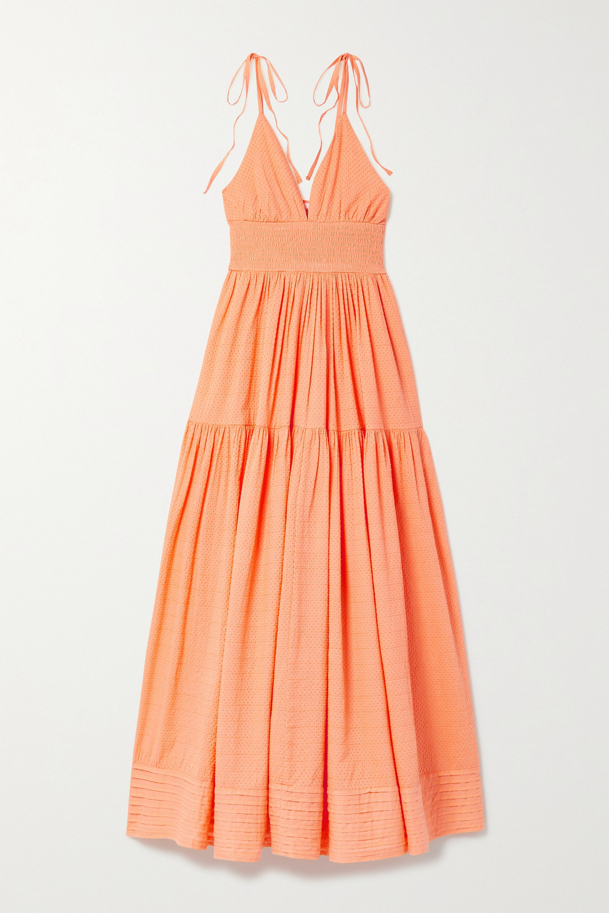 Solid & Striped The Melody Shirred Swiss-dot Cotton Maxi Dress In Orange