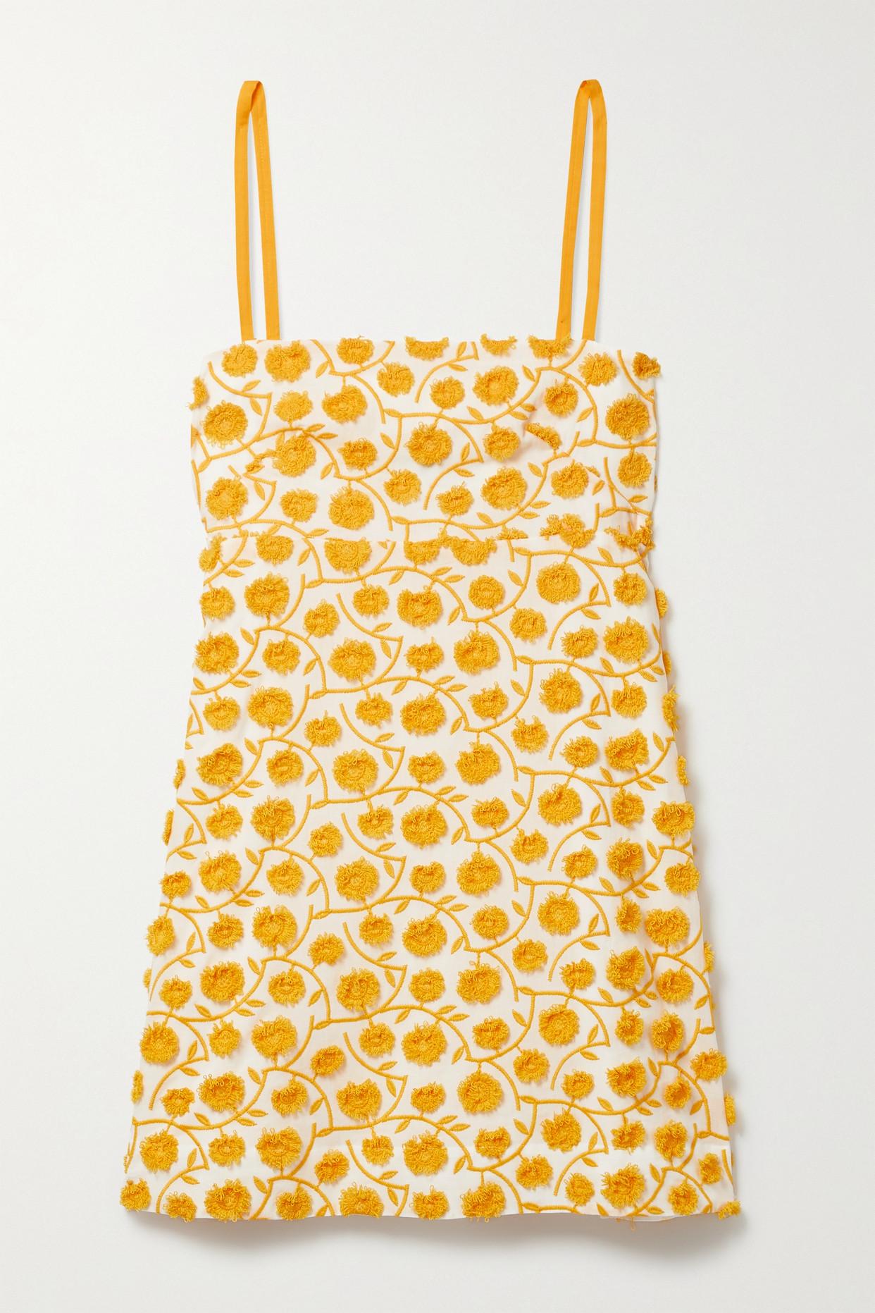 Three Graces London Clementine Appliquéd Cotton-blend Mini Dress In Yellow