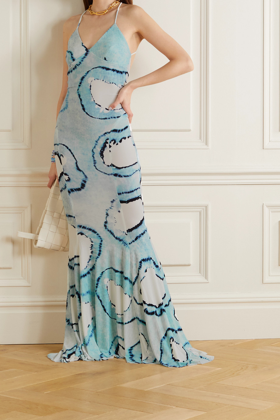 NORMA KAMALI Tie-dyed stretch-jersey gown