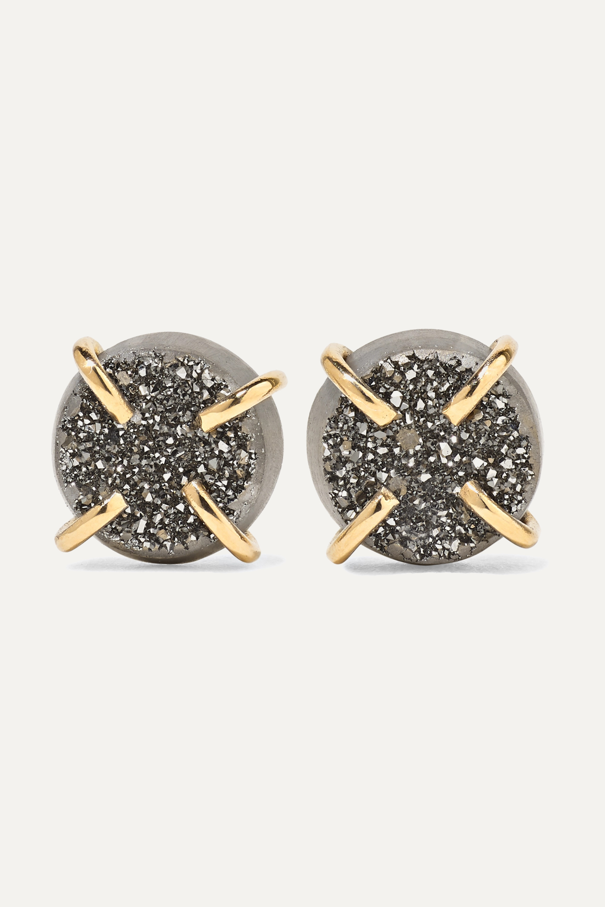 MELISSA JOY MANNING 14-karat gold druzy earrings