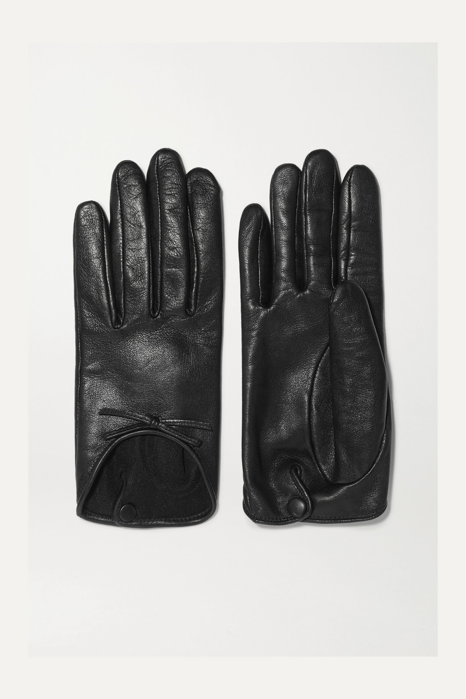 Agnelle Josie bow-embellished leather gloves